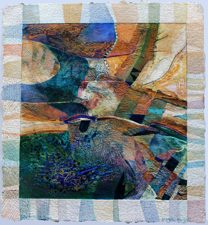 "<span class=""link fancybox-details-link""><a href=""/exhibitions/20/works/artworks_standalone10819/"">View Detail Page</a></span><div class=""artist""><span class=""artist""><strong>Brenda Hartill RE</strong></span></div><div class=""title""><em>Summers End</em></div><div class=""medium"">waxed mixed-media enhanced collagraph</div><div class=""dimensions"">58 x 55 cm image size<br></div><div class=""edition_details"">unique</div>"