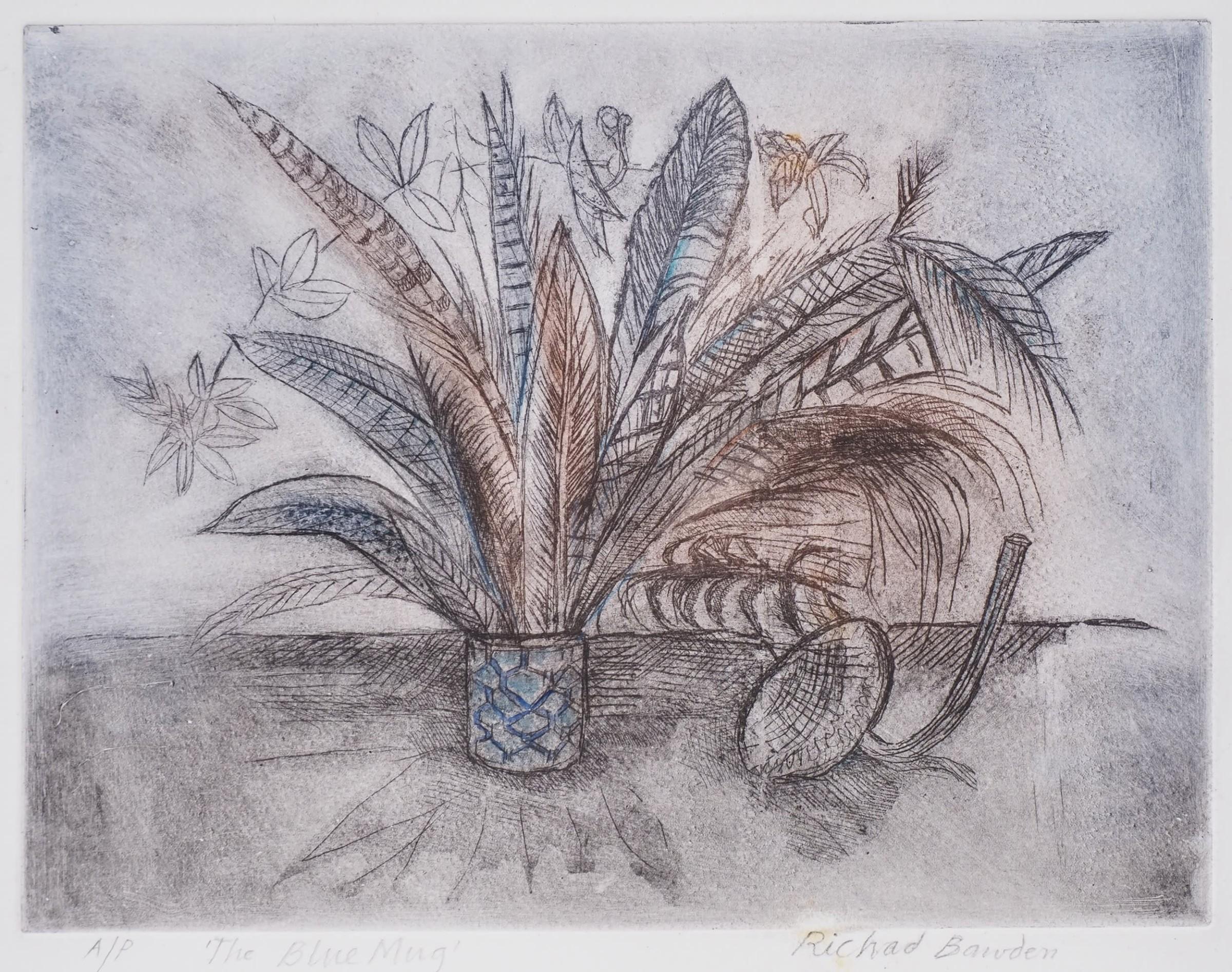 "<span class=""link fancybox-details-link""><a href=""/exhibitions/24/works/artworks_standalone11408/"">View Detail Page</a></span><div class=""artist""><span class=""artist""><strong>Richard Bawden RWS RE</strong></span></div><div class=""title""><em>The Blue Mug</em></div><div class=""medium"">etching</div><div class=""dimensions"">40 x 45 cm framed<br>25 x 33 cm image size</div>"