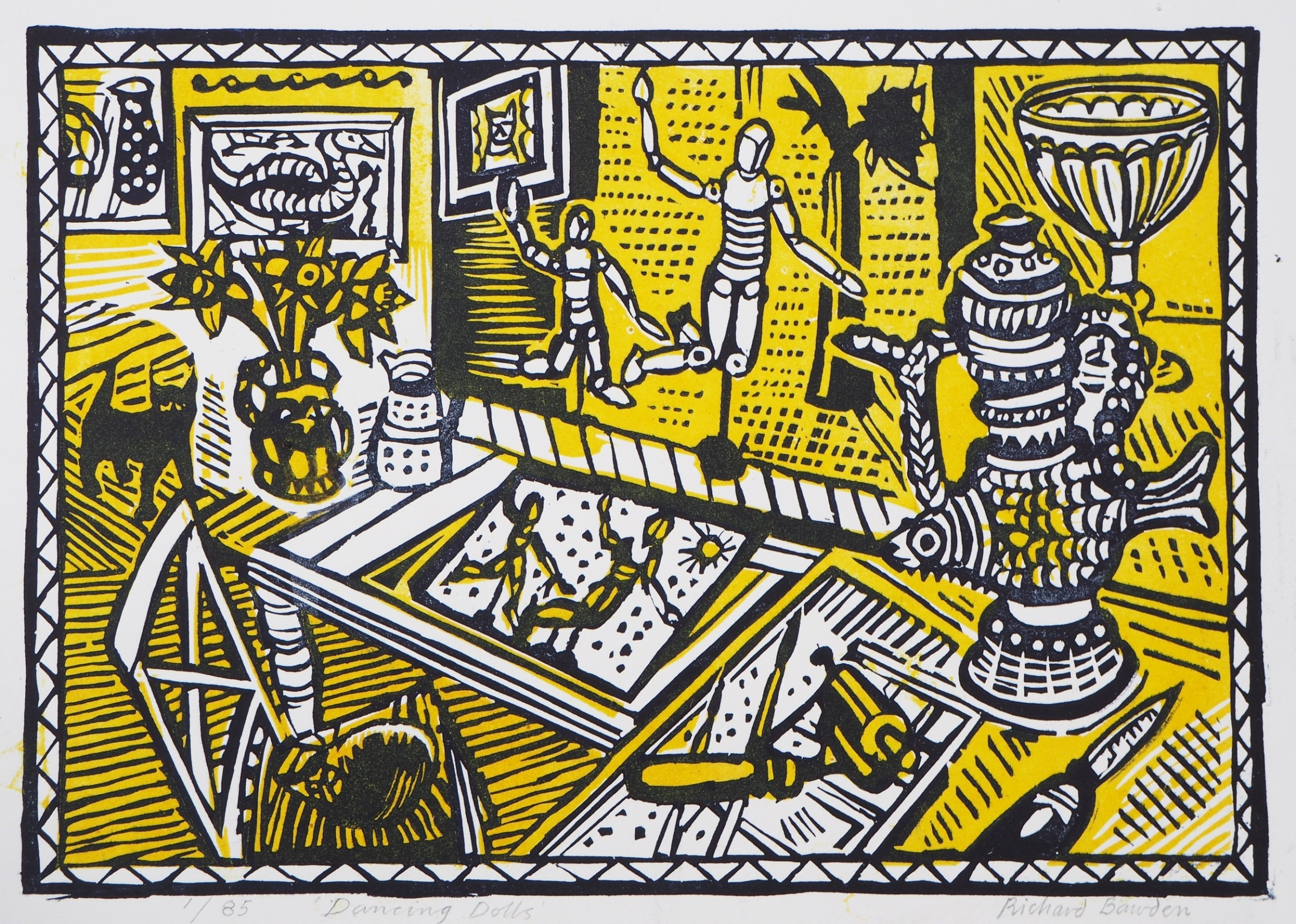 "<span class=""link fancybox-details-link""><a href=""/exhibitions/15/works/artworks_standalone10108/"">View Detail Page</a></span><div class=""artist""><span class=""artist""><strong>Richard Bawden RWS RE</strong></span></div><div class=""title""><em>Dancing Dolls</em></div><div class=""medium"">linocut	</div><div class=""dimensions"">42cm x 52cm	<br>Framed £250	<br>Unframed £195<br></div>"