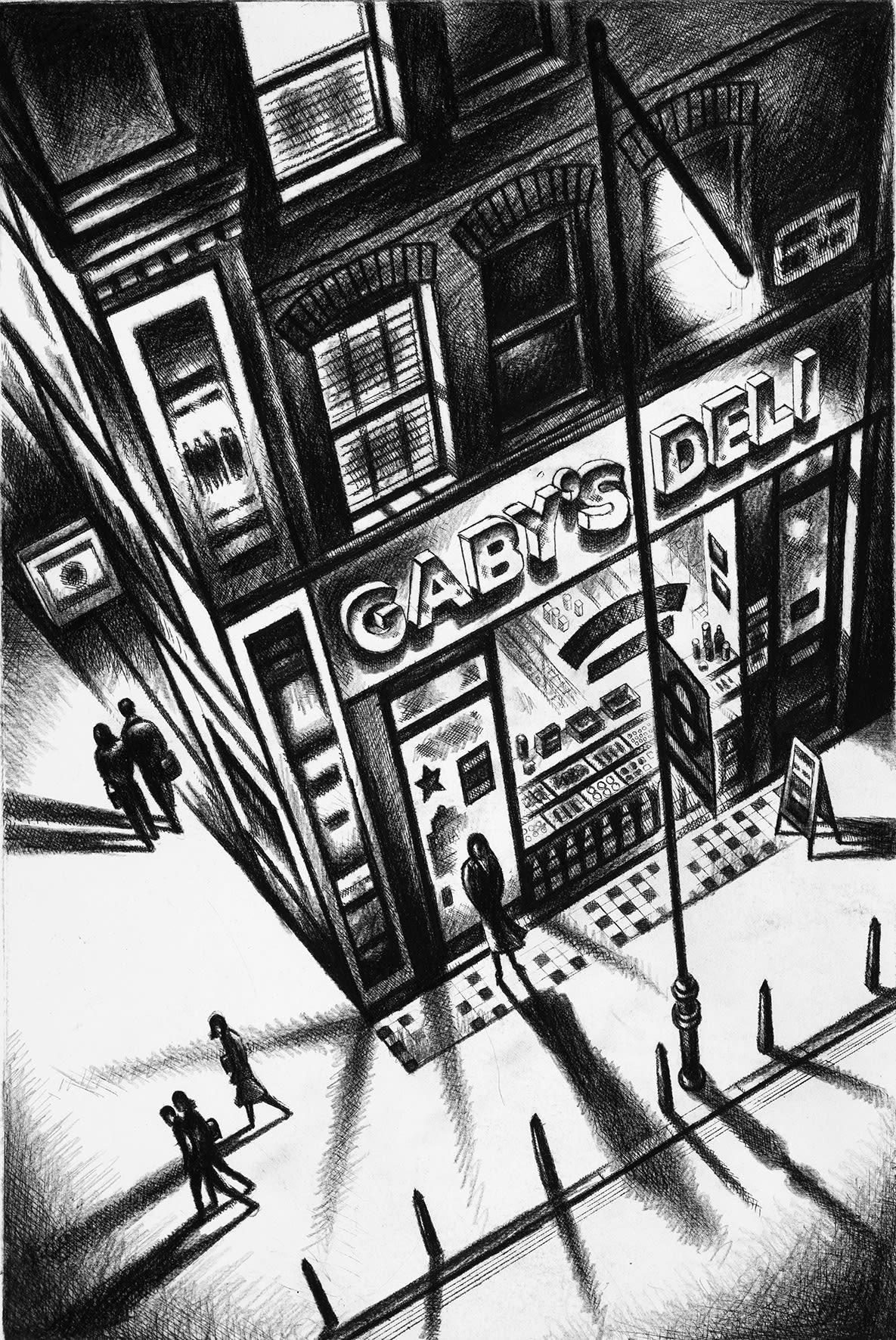 "<span class=""link fancybox-details-link""><a href=""/exhibitions/20/works/artworks_standalone10811/"">View Detail Page</a></span><div class=""artist""><span class=""artist""><strong>John Duffin RE</strong></span></div><div class=""title""><em>Gaby's Deli - Covent Garden</em></div><div class=""medium"">etching</div><div class=""dimensions"">38 x 25 cm image size<br></div><div class=""edition_details"">edition of 150</div>"
