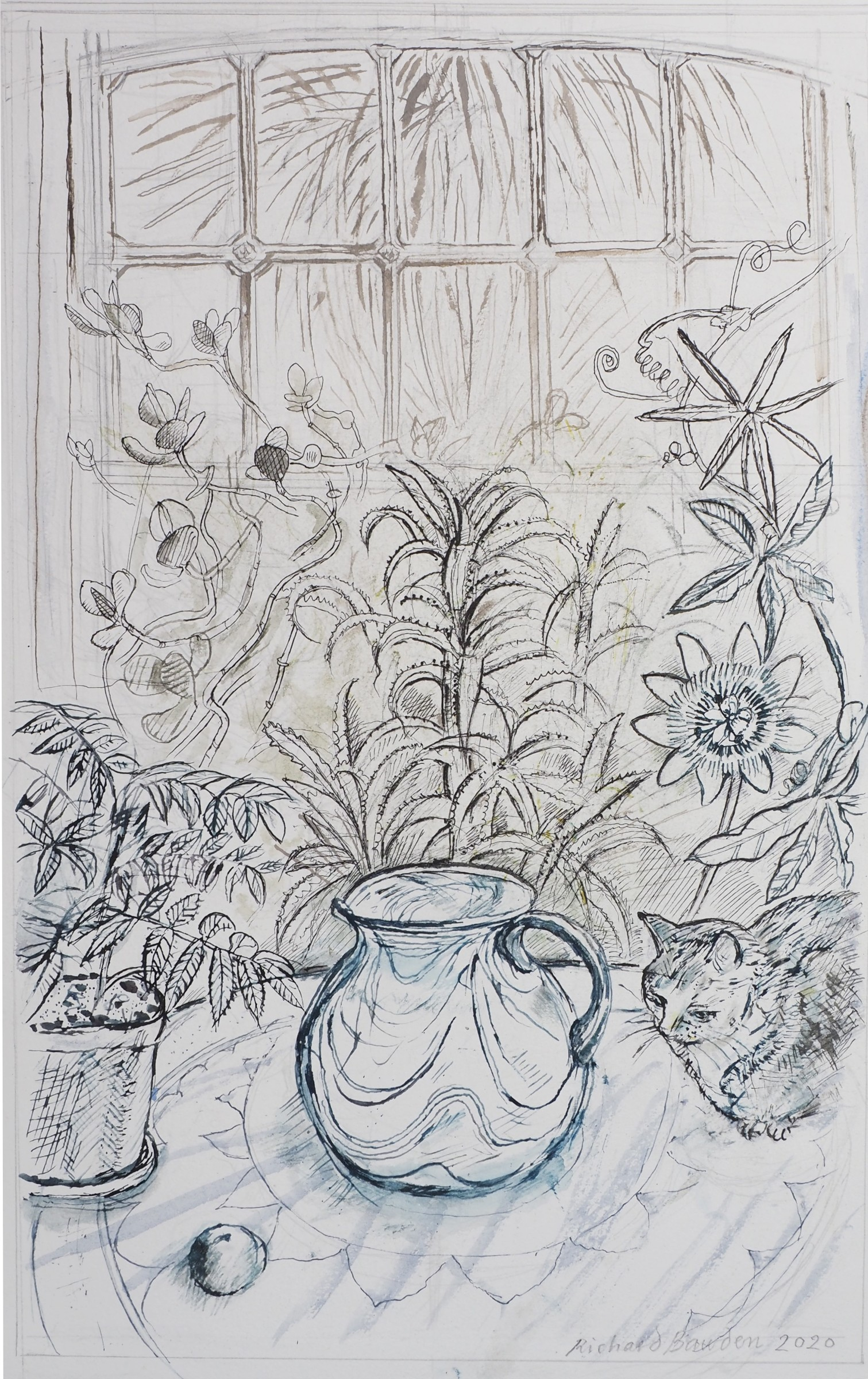 "<span class=""link fancybox-details-link""><a href=""/exhibitions/22/works/artworks_standalone11140/"">View Detail Page</a></span><div class=""artist""><span class=""artist""><strong>Richard Bawden RWS RE</strong></span></div><div class=""title""><em>The Conservatory in Lockdown 2</em></div><div class=""medium"">pen & ink</div><div class=""dimensions"">68 x 49 cm framed<br>46 x 30 cm image size</div>"