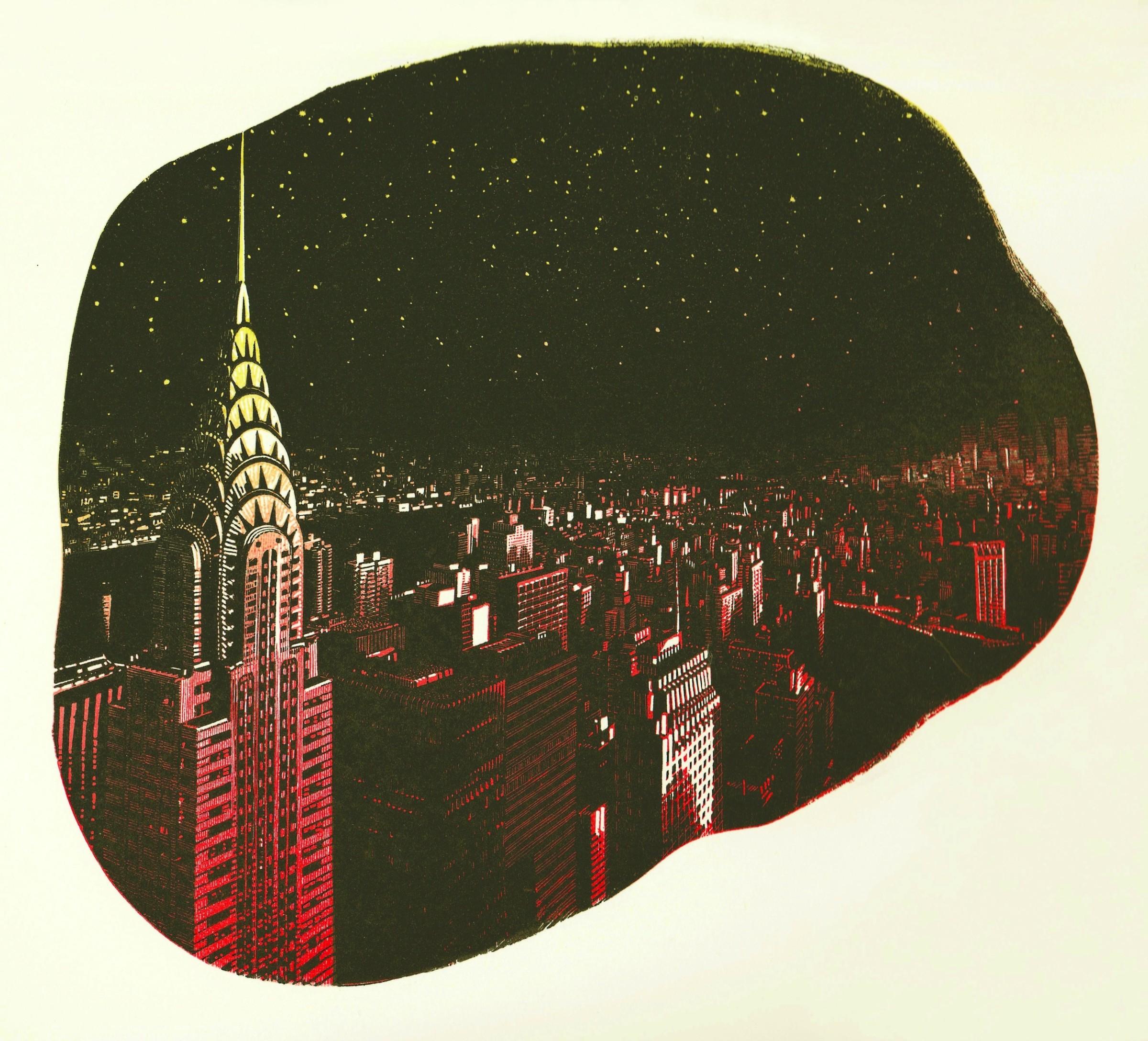 "<span class=""link fancybox-details-link""><a href=""/exhibitions/20/works/artworks_standalone10807/"">View Detail Page</a></span><div class=""artist""><span class=""artist""><strong>Anne Desmet RA RE</strong></span></div><div class=""title""><em>Manhattan Stars</em></div><div class=""medium"">reduction wood engraving<br></div><div class=""dimensions"">19 x 20.3 cm image size<br></div><div class=""edition_details"">edition of 20</div>"