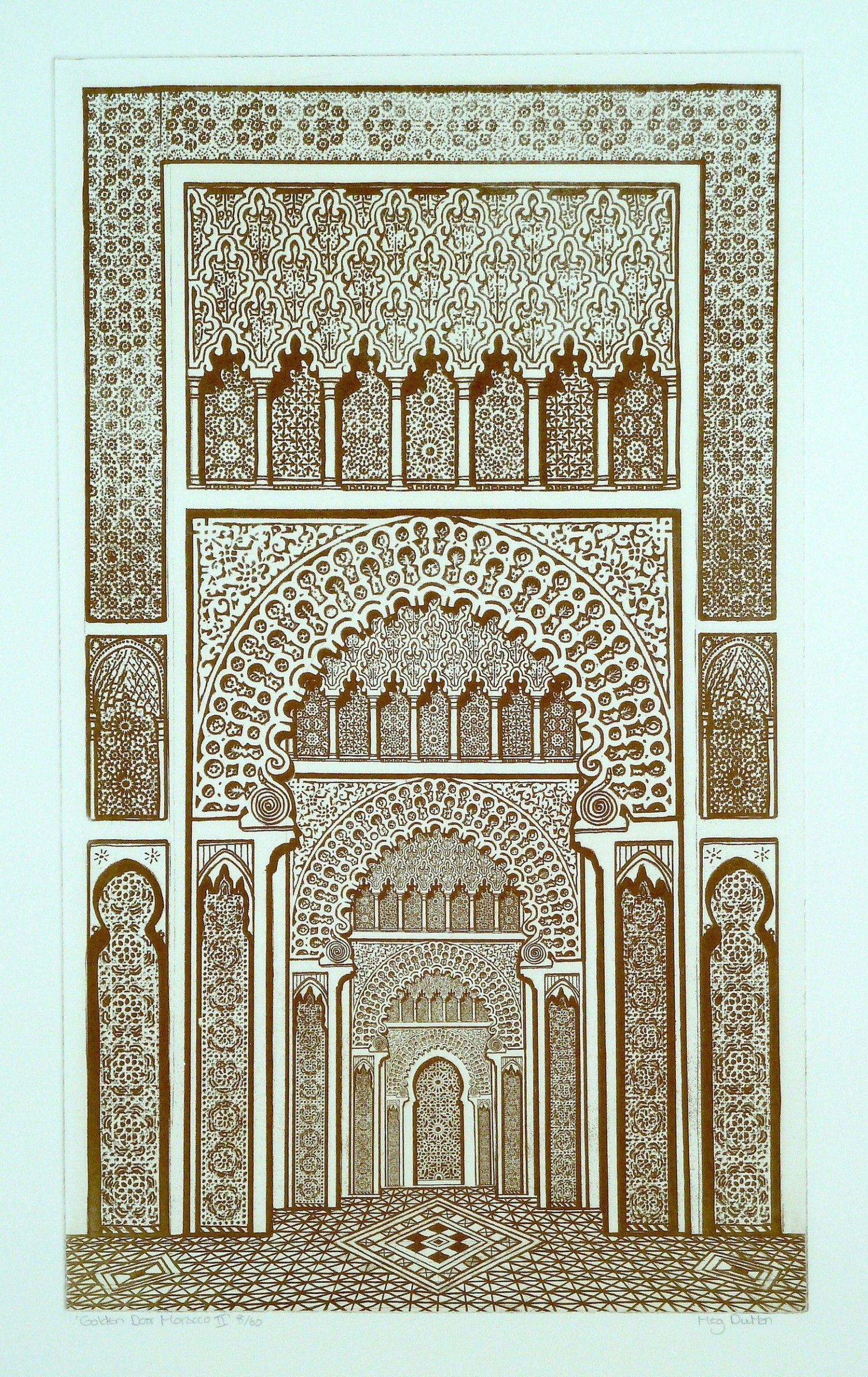 "<span class=""link fancybox-details-link""><a href=""/exhibitions/24/works/artworks_standalone11359/"">View Detail Page</a></span><div class=""artist""><span class=""artist""><strong>Meg Dutton RE</strong></span></div><div class=""title""><em>Golden Door Morocco 2</em></div><div class=""medium"">etching and watercolour</div><div class=""dimensions"">69 x 49 cm framed<br>49 x 29 cm image size</div><div class=""edition_details"">edition of 60</div>"