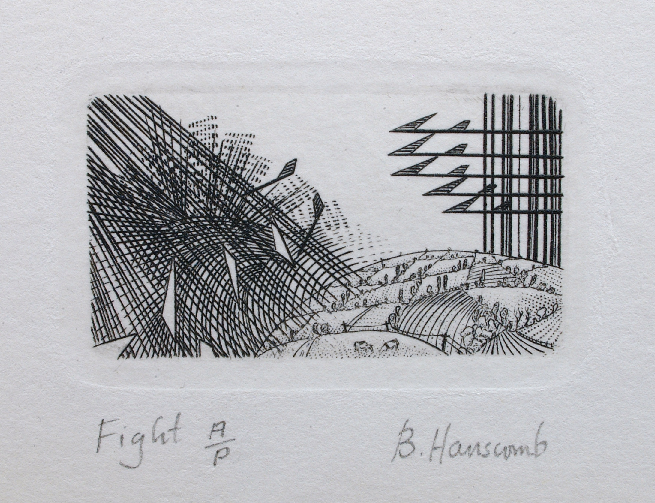 "<span class=""link fancybox-details-link""><a href=""/exhibitions/21/works/artworks_standalone10941/"">View Detail Page</a></span><div class=""artist""><span class=""artist""><strong>Brian Hanscomb RE</strong></span></div><div class=""title""><em>Fight</em></div><div class=""medium"">copperplate engraving</div><div class=""dimensions"">21 x 24cm framed<br>2.7 x 4.5cm image</div><div class=""edition_details"">edition of 100</div>"