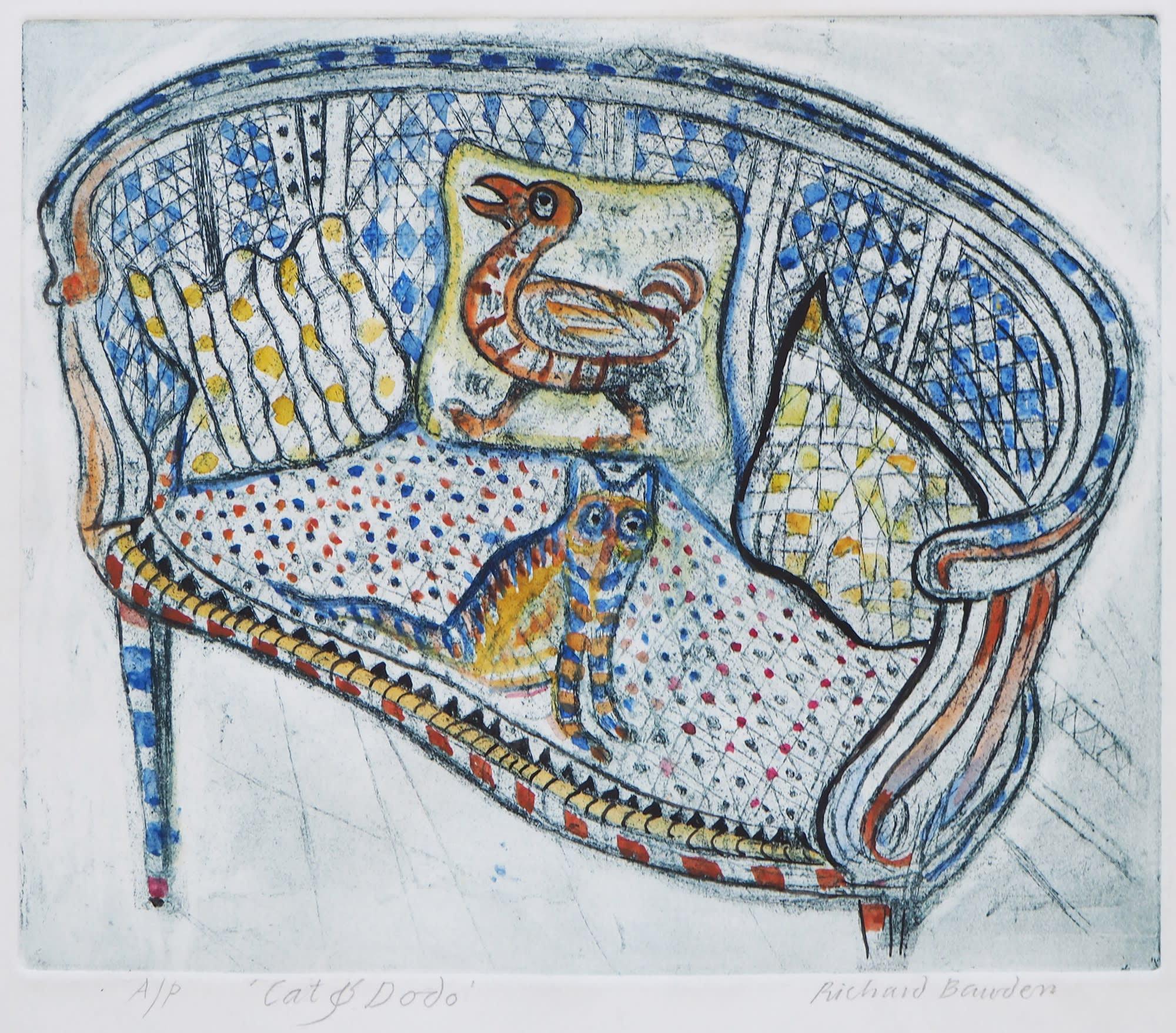 "<span class=""link fancybox-details-link""><a href=""/exhibitions/21/works/artworks_standalone11006/"">View Detail Page</a></span><div class=""artist""><span class=""artist""><strong>Richard Bawden RWS RE</strong></span></div><div class=""title""><em>Cat & Dodo</em></div><div class=""medium"">hand coloured etching</div><div class=""dimensions"">43 x 45 cm framed<br>22 x 26 cm image size</div><div class=""edition_details"">Artists proof. Edition of 85</div>"