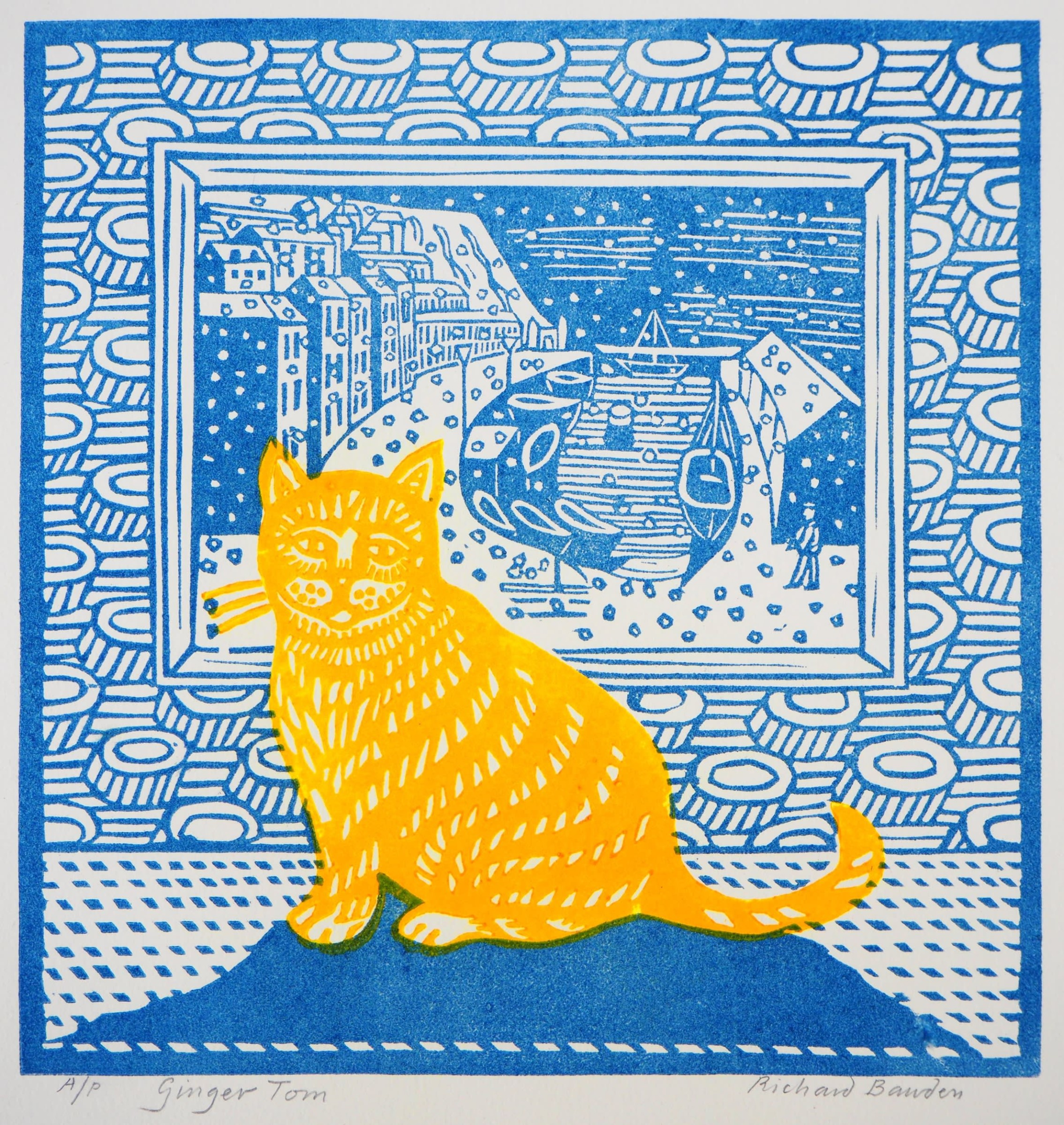 "<span class=""link fancybox-details-link""><a href=""/exhibitions/19/works/artworks_standalone10442/"">View Detail Page</a></span><div class=""artist""><span class=""artist""><strong>Richard Bawden RWS RE</strong></span></div><div class=""title""><em>Ginger Tom</em></div><div class=""medium"">linocut	</div><div class=""dimensions"">Frame: 46 x 43 cm<br>Artwork: 24 x 23 cm	<br></div>"