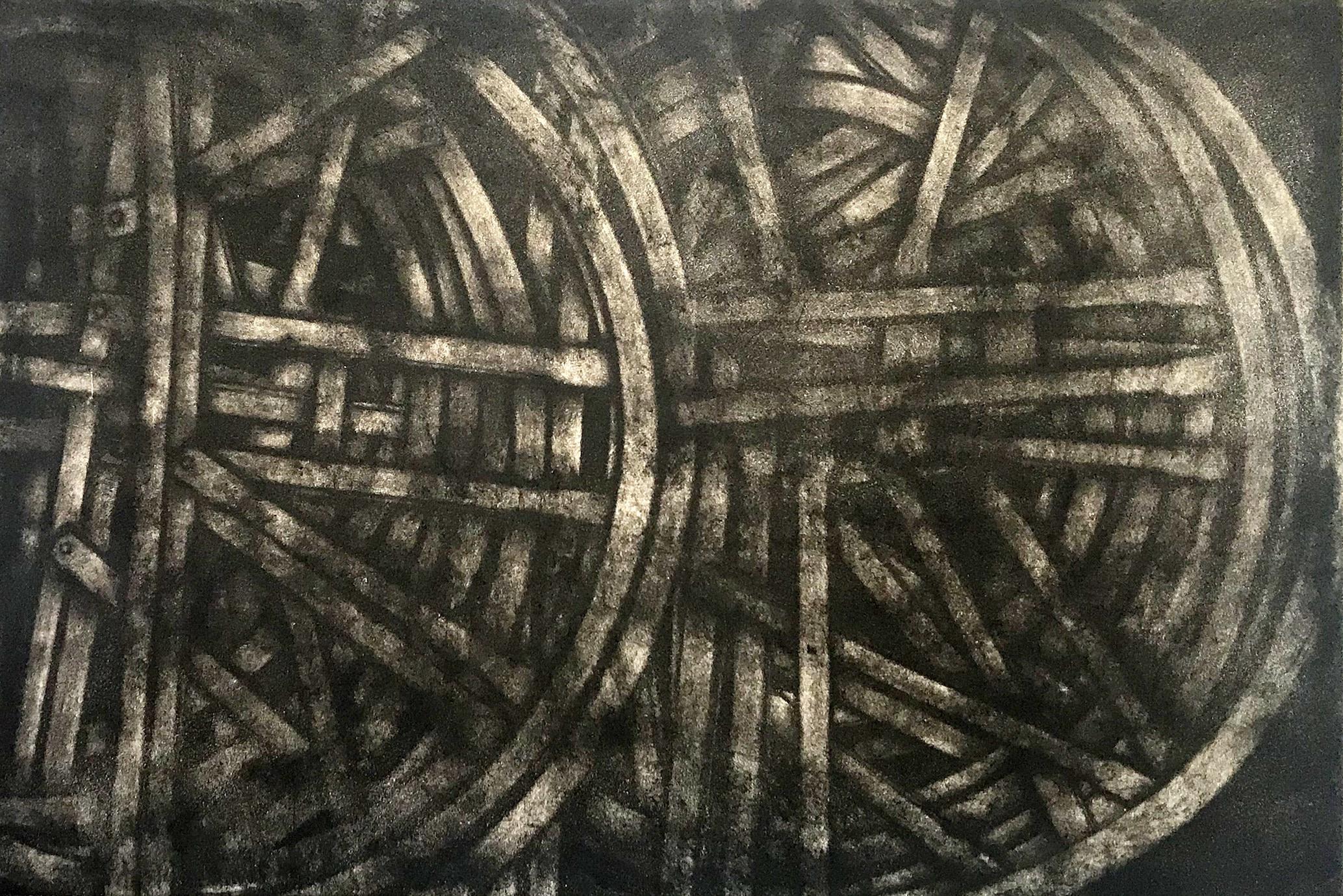 "<span class=""link fancybox-details-link""><a href=""/exhibitions/23/works/artworks_standalone11318/"">View Detail Page</a></span><div class=""artist""><span class=""artist""><strong>Jane Stobart RE</strong></span></div><div class=""title""><em>Whitechapel Bell Wheels</em></div><div class=""medium"">aquatint etching</div><div class=""dimensions"">53 x 74 cm paper size<br>30 x 45 cm image size</div><div class=""edition_details"">edition of 15</div>"