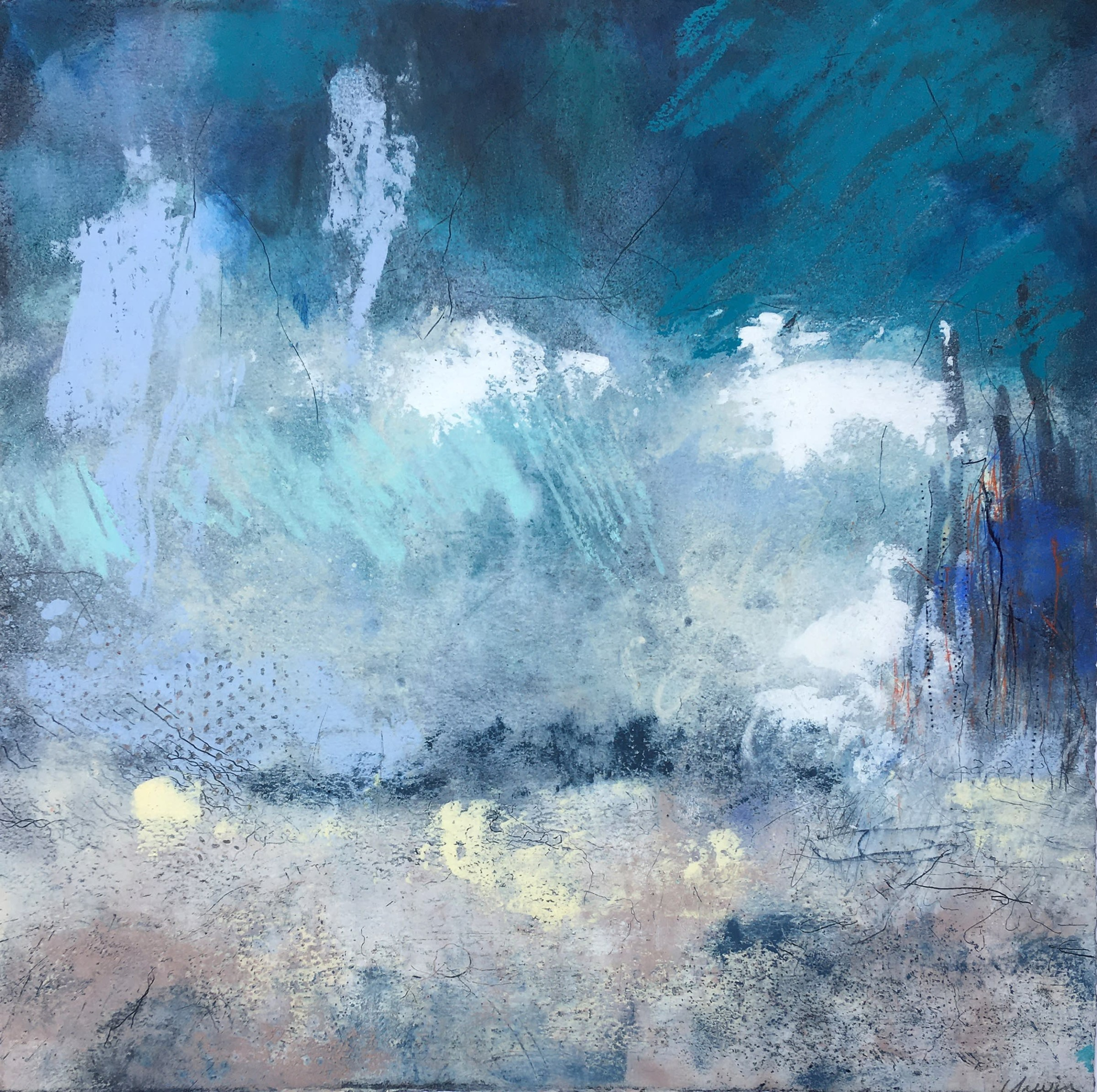 """<span class=""""link fancybox-details-link""""><a href=""""/exhibitions/21/works/artworks_standalone10881/"""">View Detail Page</a></span><div class=""""artist""""><span class=""""artist""""><strong>Bren Unwin PPRE Hon RWS</strong></span></div><div class=""""title""""><em>Rip Tide</em></div><div class=""""medium"""">oil and mixed media monotype</div><div class=""""dimensions"""">54 x 54cm framed</div><div class=""""edition_details"""">1/1</div>"""
