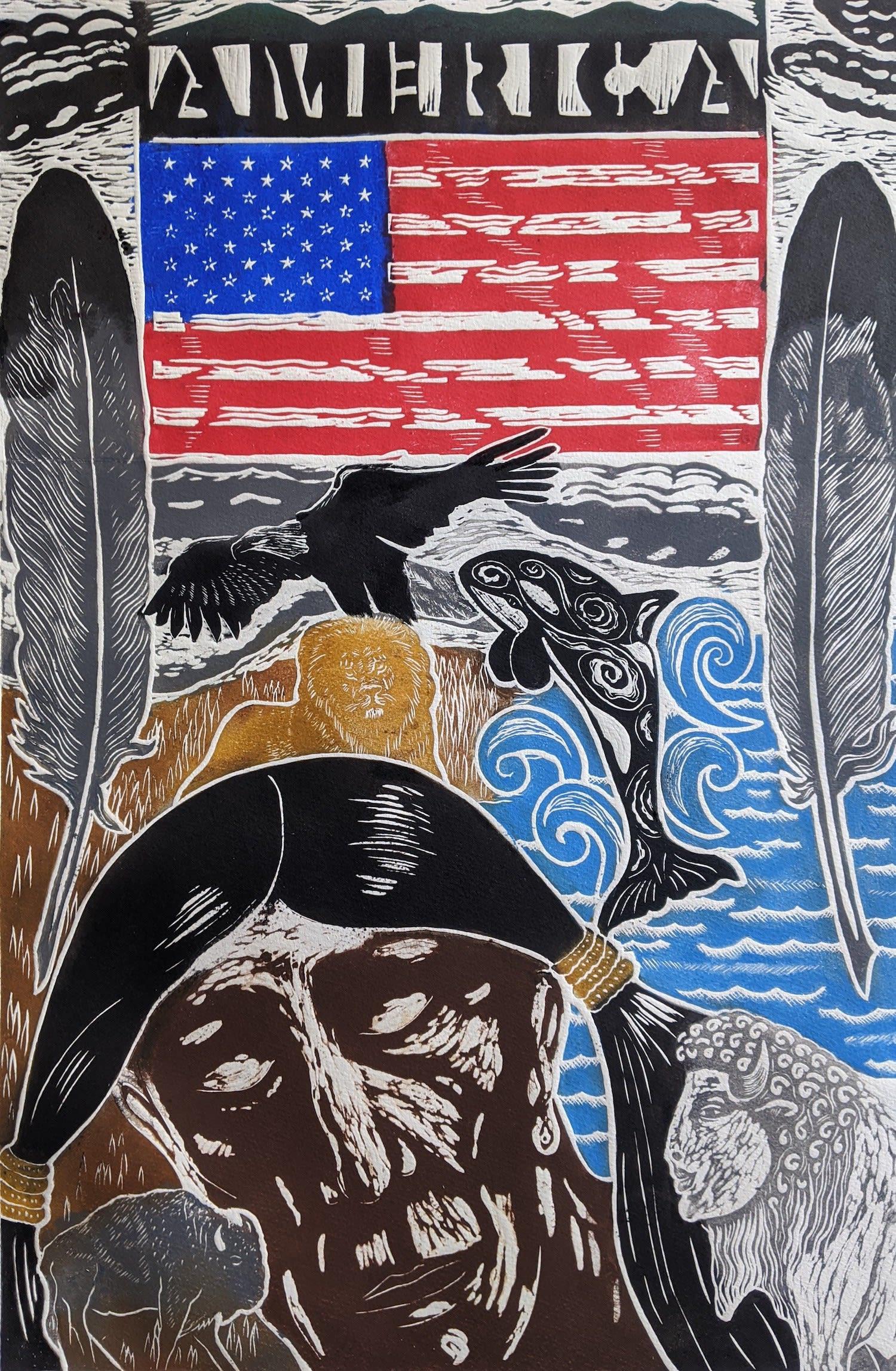 "<span class=""link fancybox-details-link""><a href=""/exhibitions/21/works/artworks_standalone10927/"">View Detail Page</a></span><div class=""artist""><span class=""artist""><strong>Linda Landers RE</strong></span></div><div class=""title""><em>America - A Prophecy</em></div><div class=""medium"">relief print</div><div class=""dimensions"">84 x 63cm framed<br>67 x 45cm image</div><div class=""edition_details"">edition of 50</div>"