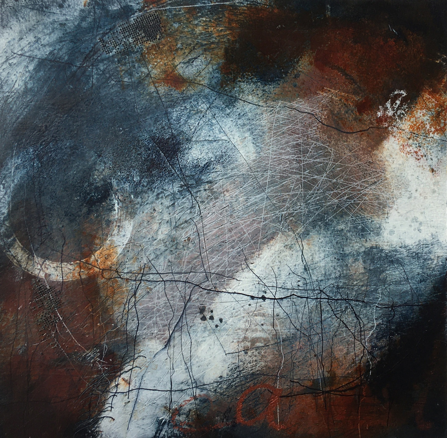 "<span class=""link fancybox-details-link""><a href=""/exhibitions/24/works/artworks_standalone11355/"">View Detail Page</a></span><div class=""artist""><span class=""artist""><strong>Bren Unwin PPRE Hon RWS</strong></span></div><div class=""title""><em>Frisson</em></div><div class=""medium"">monotype: oil and mixed media on paper</div><div class=""dimensions"">47 x 47 cm framed size<br>31 x 31 cm image size</div><div class=""edition_details"">1/1</div>"