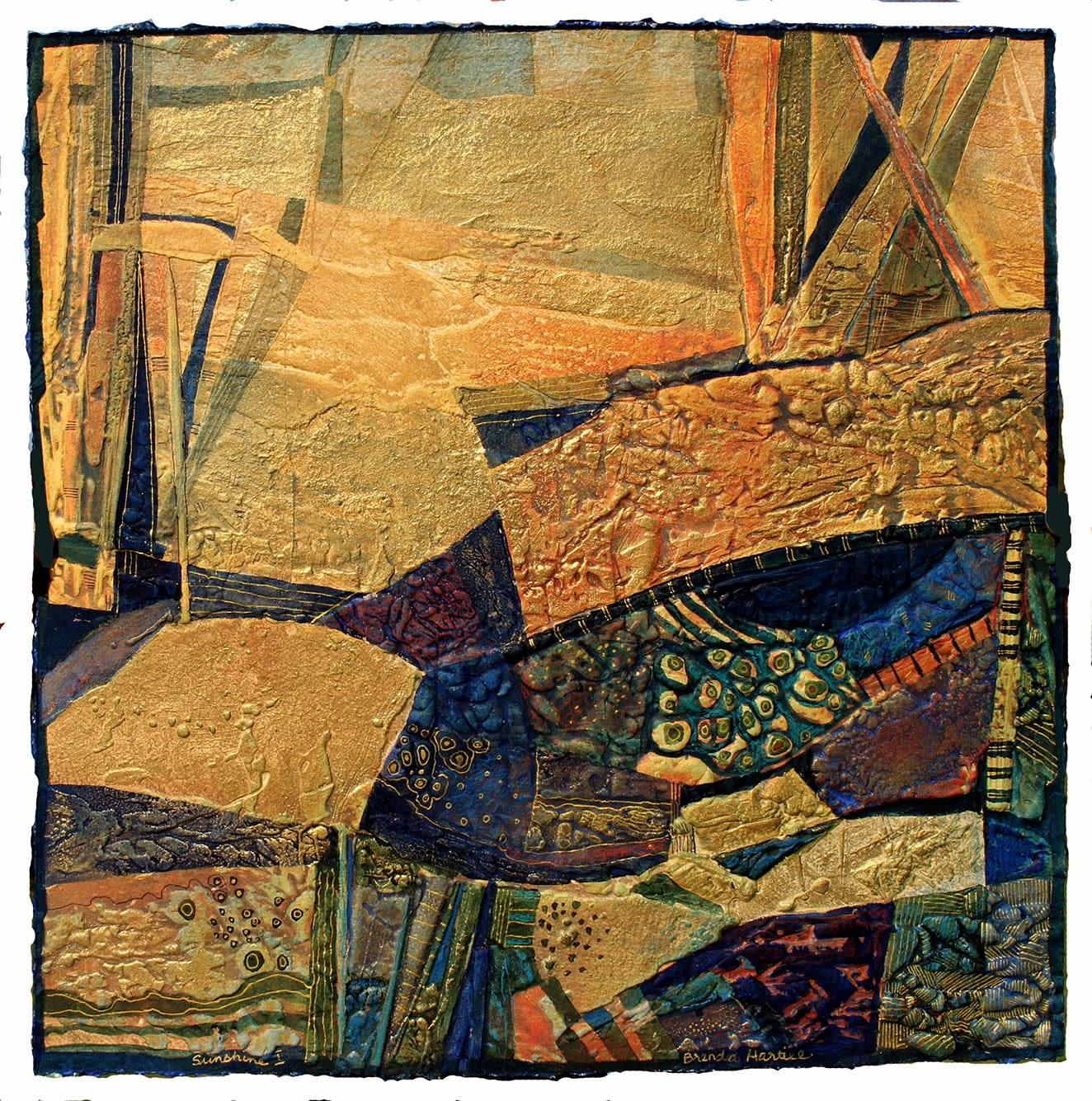 "<span class=""link fancybox-details-link""><a href=""/exhibitions/20/works/artworks_standalone10818/"">View Detail Page</a></span><div class=""artist""><span class=""artist""><strong>Brenda Hartill RE</strong></span></div><div class=""title""><em>Sunshine I</em></div><div class=""medium"">collagraph/mixedmedia<br></div><div class=""dimensions"">50 x 50 cm image size<br></div><div class=""edition_details"">unique</div>"