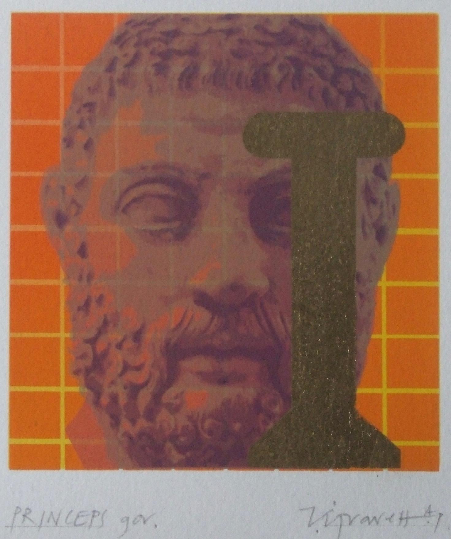"<span class=""link fancybox-details-link""><a href=""/exhibitions/23/works/artworks_standalone11226/"">View Detail Page</a></span><div class=""artist""><span class=""artist""><strong>Terence Gravett ARE</strong></span></div><div class=""title""><em>Princeps Gov</em></div><div class=""medium"">screenprint & gold leaf</div><div class=""dimensions"">21 x 20 cm paper size<br>8.5 x 9 cm image size</div><div class=""edition_details"">edition of 10</div>"