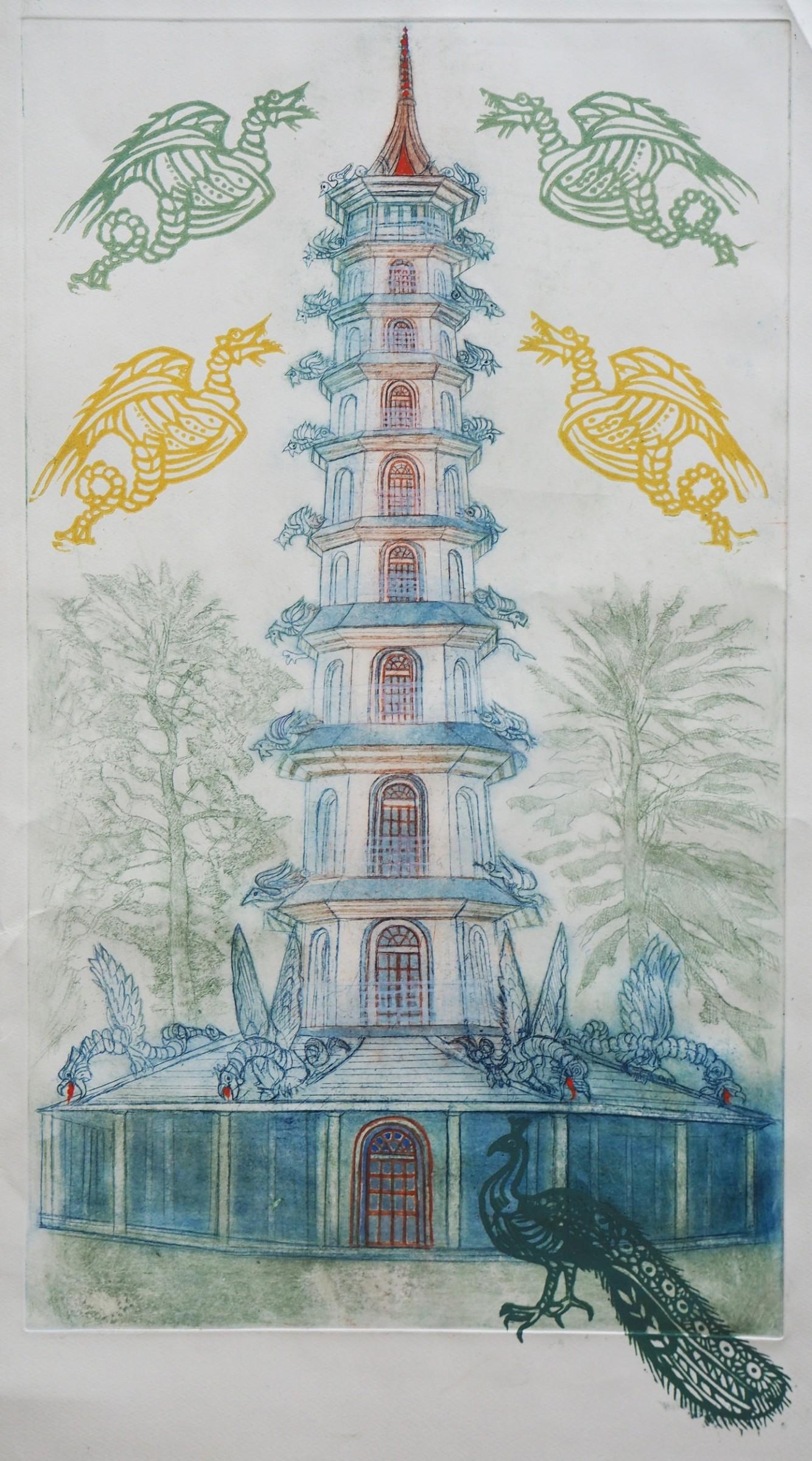 "<span class=""link fancybox-details-link""><a href=""/artists/36-richard-bawden-rws-re/works/10675/"">View Detail Page</a></span><div class=""artist""><span class=""artist""><strong>Richard Bawden RWS RE</strong></span></div><div class=""title""><em>The Great Pagoda, Kew Gardens</em></div><div class=""medium"">etching, linocut and hand colouring<br /> </div><div class=""dimensions"">76 x 42 cm image size<br /> </div><div class=""edition_details"">edition of 50<br /> </div><div class=""price"">£520.00 unframed</div>"