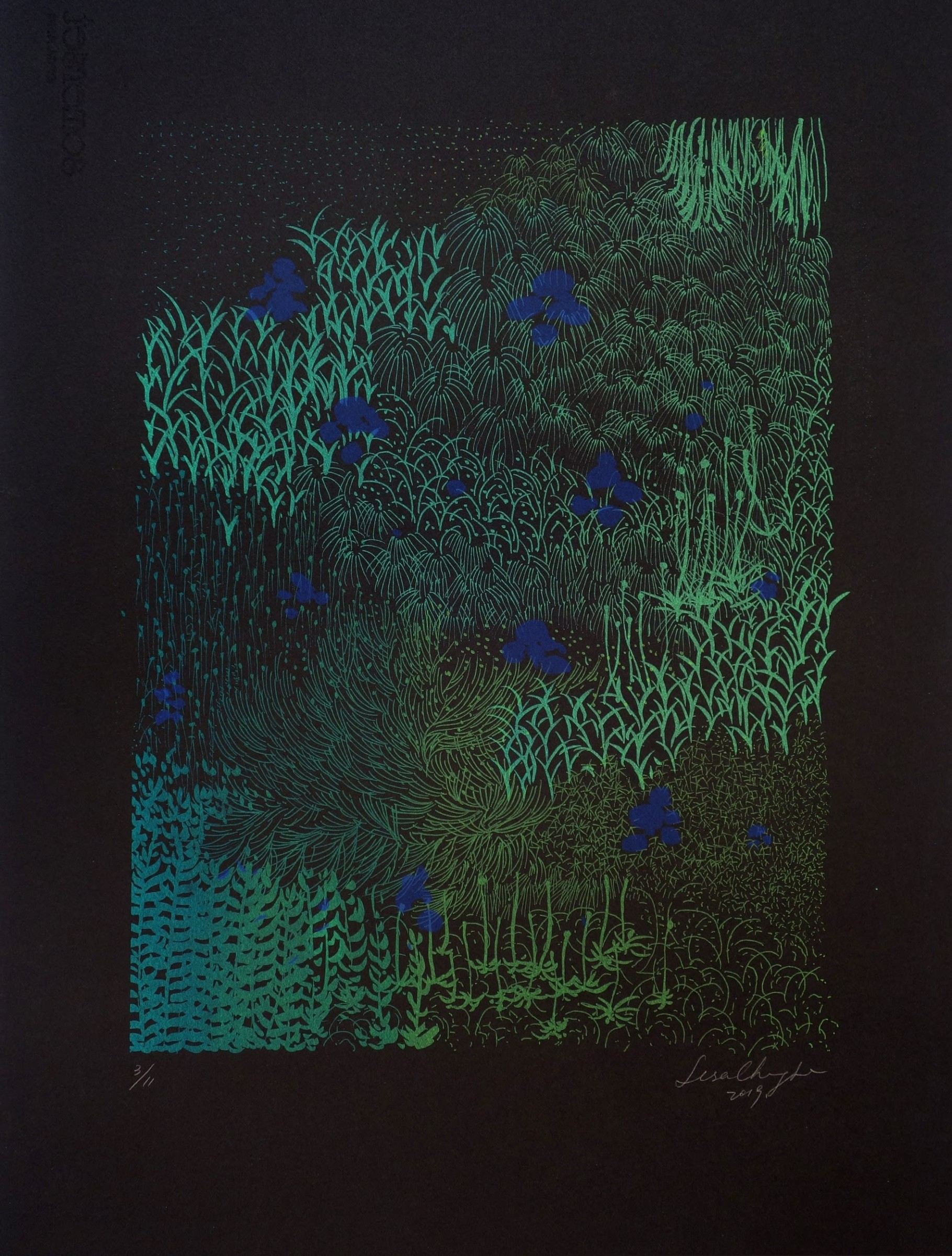 "<span class=""link fancybox-details-link""><a href=""/artists/225-lisa-chang-lee-are/works/10704/"">View Detail Page</a></span><div class=""artist""><span class=""artist""><strong>Lisa Chang Lee ARE</strong></span></div><div class=""title""><em>Swedish Garden (Night)</em></div><div class=""medium"">silk screen on somerset paper black velvet</div><div class=""dimensions"">36.5 x 27 cm image size</div><div class=""edition_details"">3/11</div><div class=""price"">£369.00 unframed</div>"