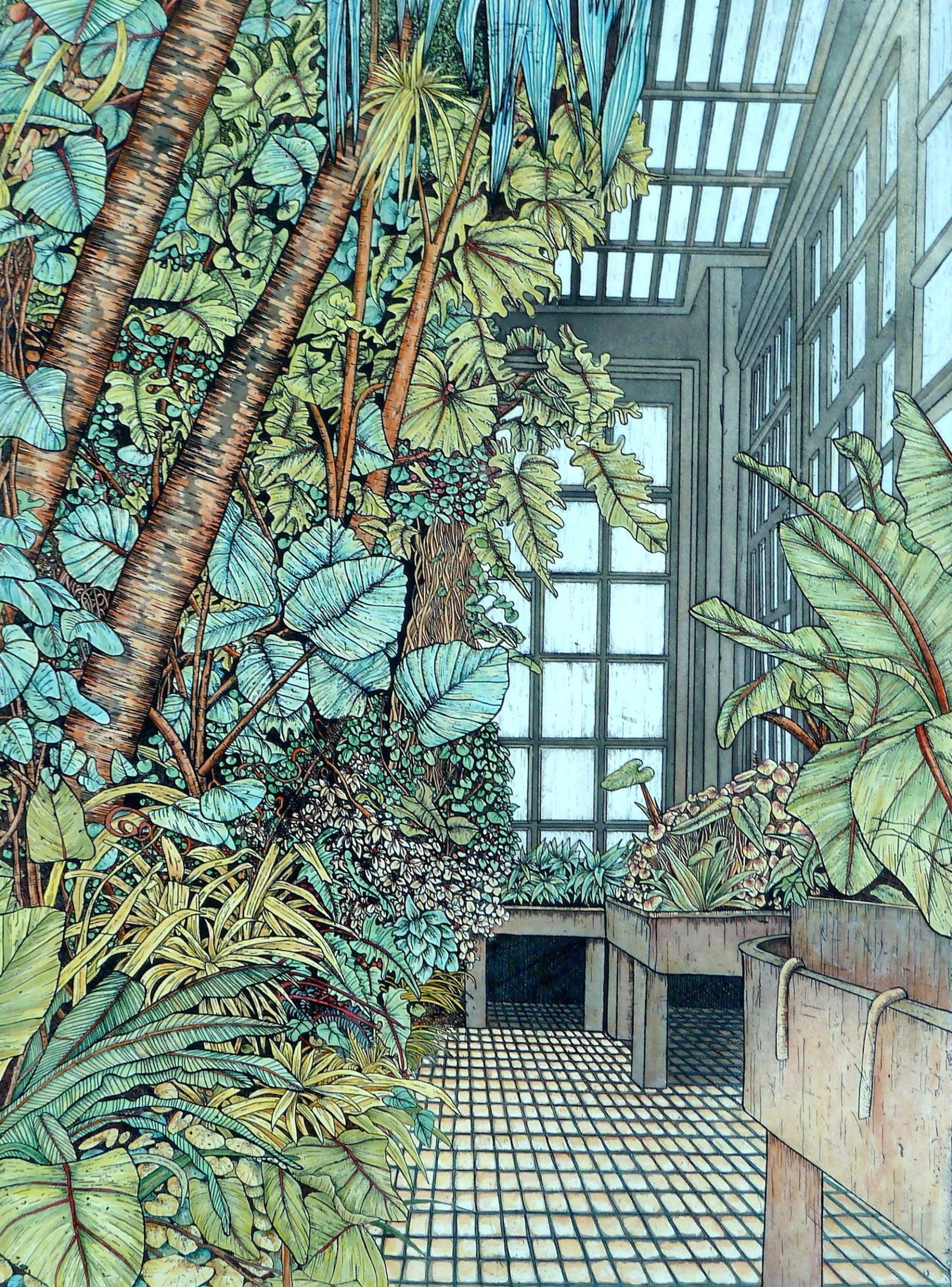 "<span class=""link fancybox-details-link""><a href=""/exhibitions/24/works/artworks_standalone11358/"">View Detail Page</a></span><div class=""artist""><span class=""artist""><strong>Meg Dutton RE</strong></span></div><div class=""title""><em>Tropical House</em></div><div class=""medium"">etching and watercolour</div><div class=""dimensions"">89 x 72 cm framed<br>67 x 49 cm image size</div><div class=""edition_details"">edition of 40</div>"