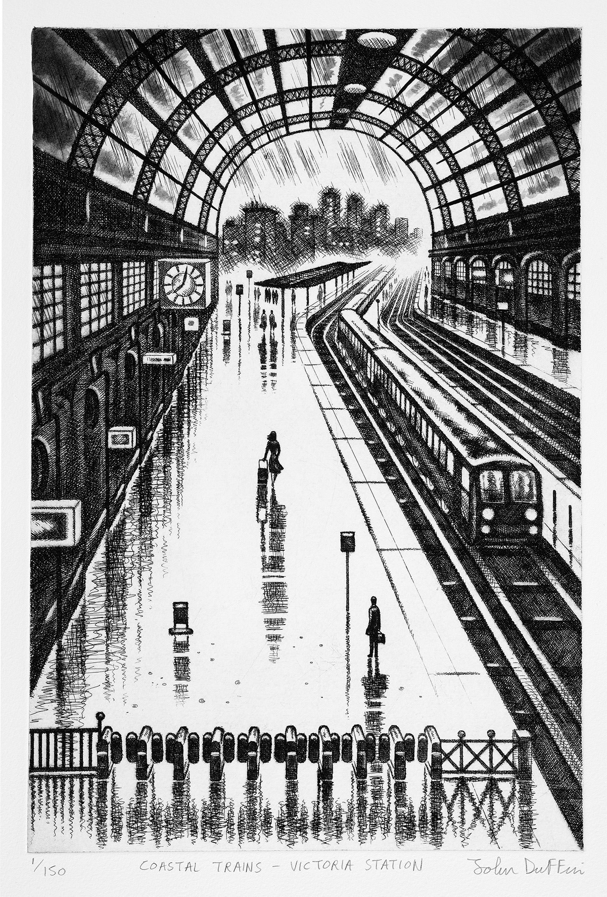 "<span class=""link fancybox-details-link""><a href=""/exhibitions/23/works/artworks_standalone11204/"">View Detail Page</a></span><div class=""artist""><span class=""artist""><strong>John Duffin RE</strong></span></div><div class=""title""><em>Coastal Trains - Victoria Station</em></div><div class=""medium"">etching</div><div class=""dimensions"">50 x 50cm paper size<br>38 x 25cm image size</div><div class=""edition_details"">edition of 150</div>"