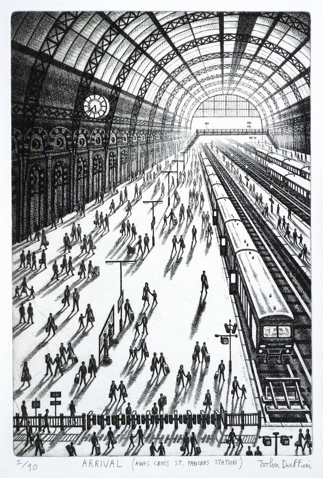 "<span class=""link fancybox-details-link""><a href=""/exhibitions/23/works/artworks_standalone10964/"">View Detail Page</a></span><div class=""artist""><span class=""artist""><strong>John Duffin RE</strong></span></div><div class=""title""><em>Arrival - Kings Cross St Pancras Station</em></div><div class=""medium"">etching</div><div class=""dimensions"">50 x 50cm paper size<br>38 x 25 cm image size</div><div class=""edition_details"">Artist proof</div>"