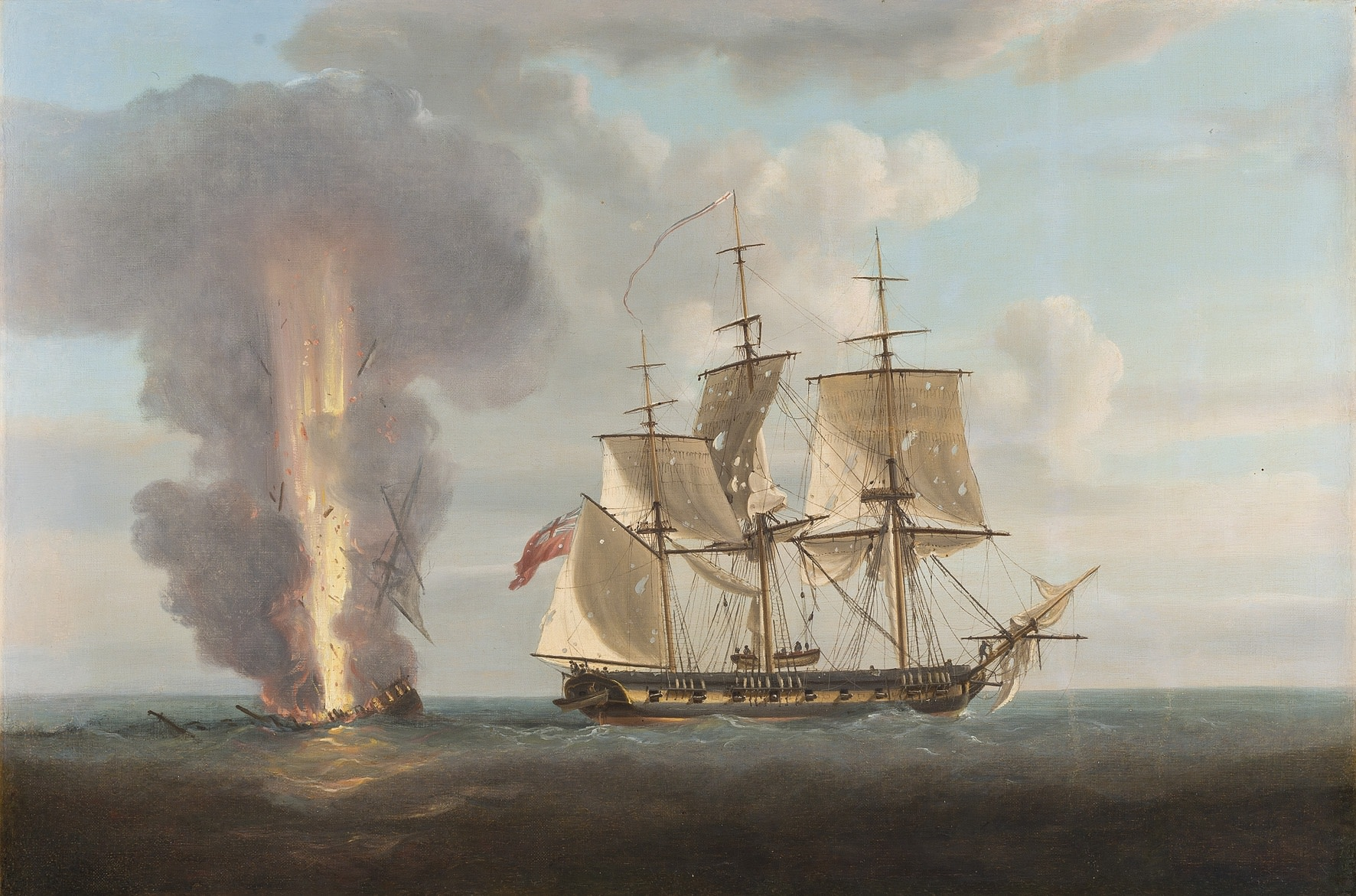 Nicholas Pocock, Captain Jeremiah Coghlan's ship the 'Renard' engaging the French privateer the 'General Ernouf' off Haiti, 1805; The destruction of the 'General Ernouf' by the 'Renard'