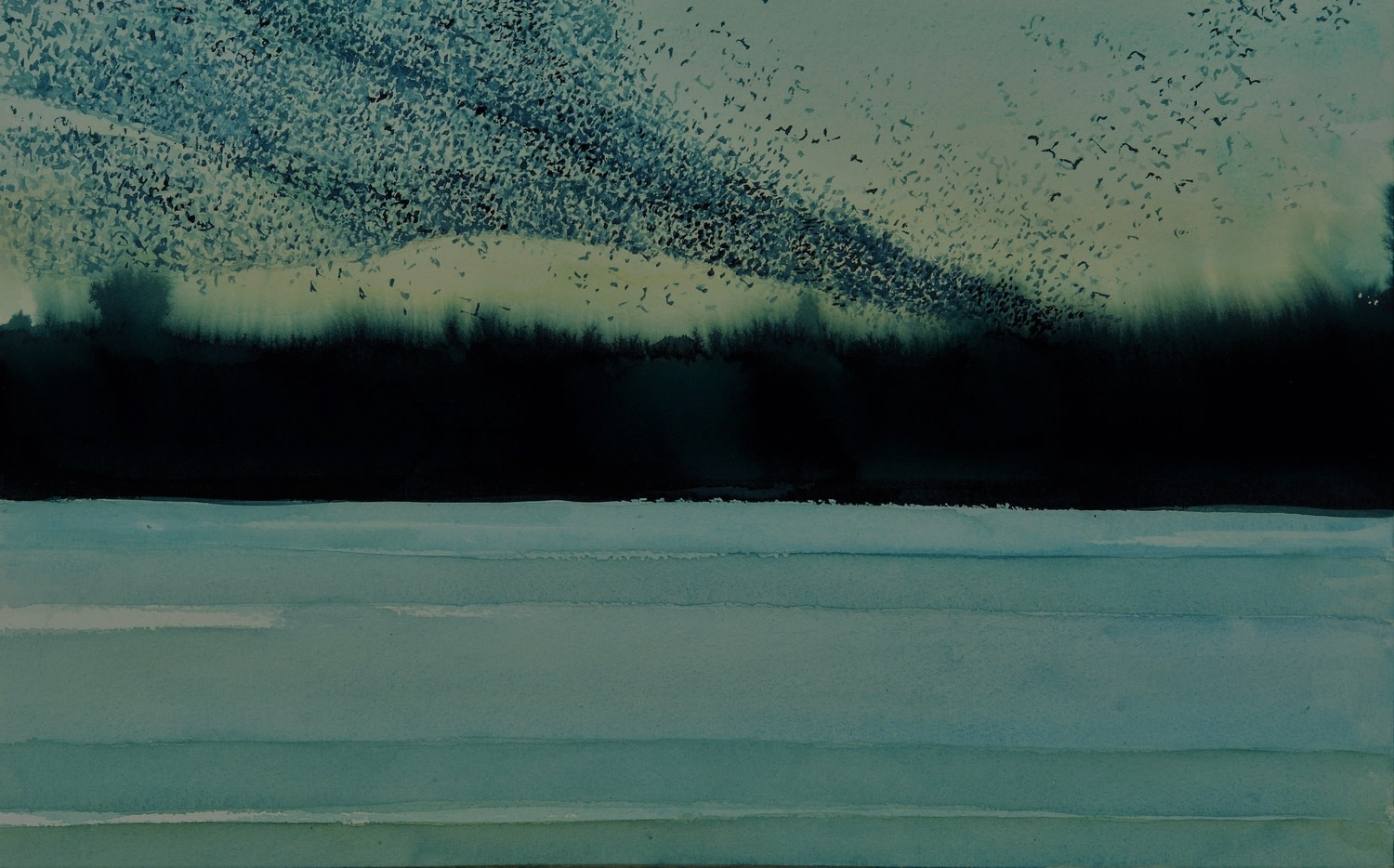 <span class=&#34;link fancybox-details-link&#34;><a href=&#34;/exhibitions/25/works/image_standalone644/&#34;>View Detail Page</a></span><p><span>Robert Parker</span></p><p><em>Murmuration at Dusk</em></p>