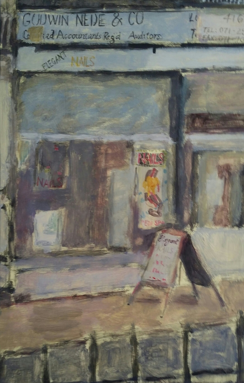<span class=&#34;link fancybox-details-link&#34;><a href=&#34;/exhibitions/25/works/image_standalone605/&#34;>View Detail Page</a></span><p><span>Vivien Pegram</span></p><p><em>Shops Albany Road</em></p>