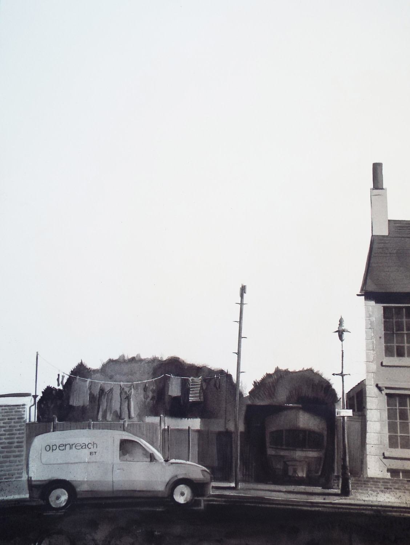"""<span class=""""link fancybox-details-link""""><a href=""""/exhibitions/36/works/image_standalone4856/"""">View Detail Page</a></span><p>Andy Howe</p><p><em>St. Dunstan's Terrace, Open Reach Van</em></p><p>watercolour</p><p>£600</p>"""