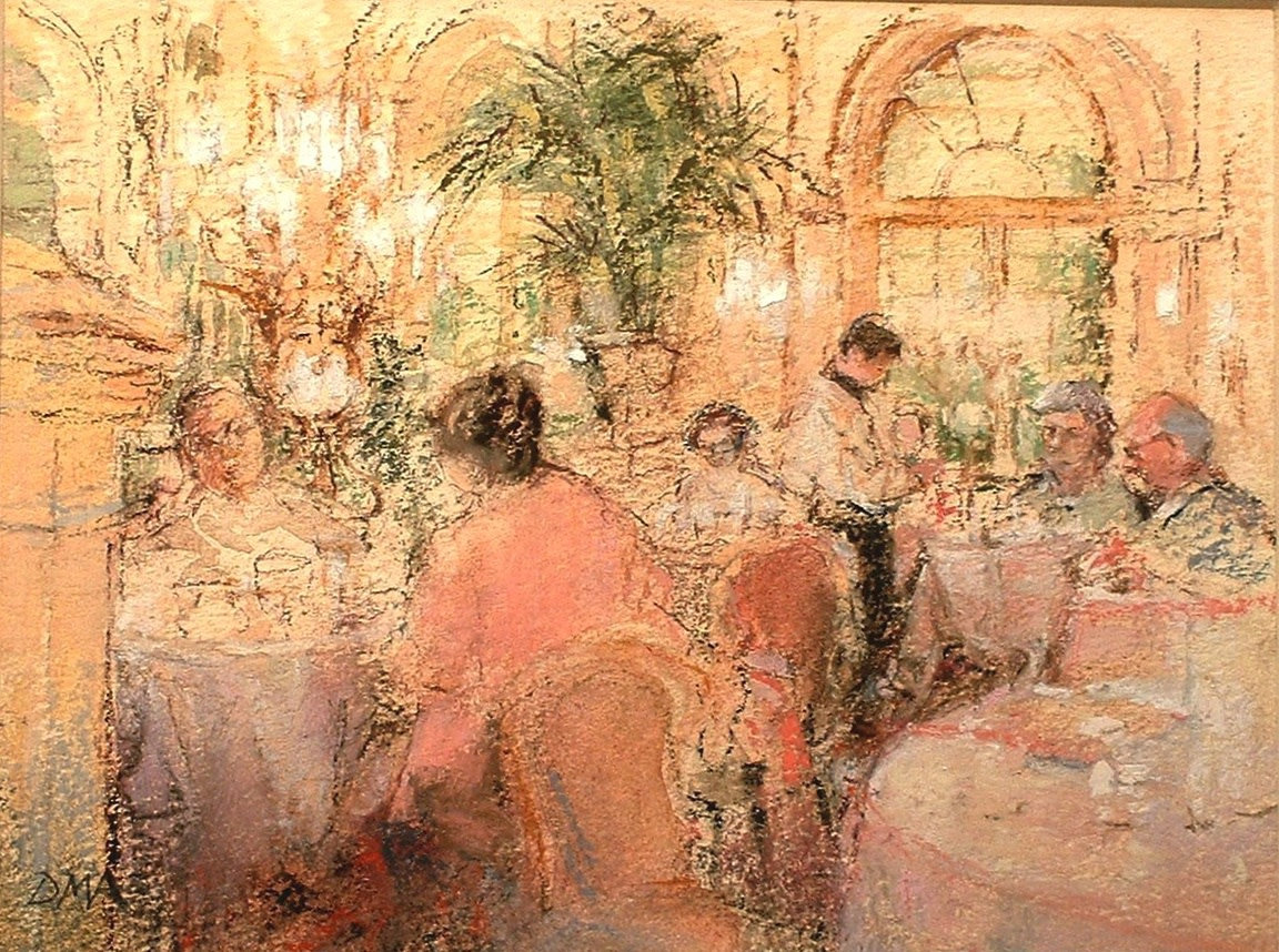"""<span class=""""link fancybox-details-link""""><a href=""""/artists/116-diana-armfield-ra/works/9481-diana-armfield-ra-tea-at-the-plaza-hotel-new-york/"""">View Detail Page</a></span><div class=""""artist""""><span class=""""artist""""><strong>Diana Armfield RA</strong></span></div><div class=""""title""""><em>Tea at the Plaza Hotel, New York</em></div><div class=""""medium"""">watercolour</div>"""