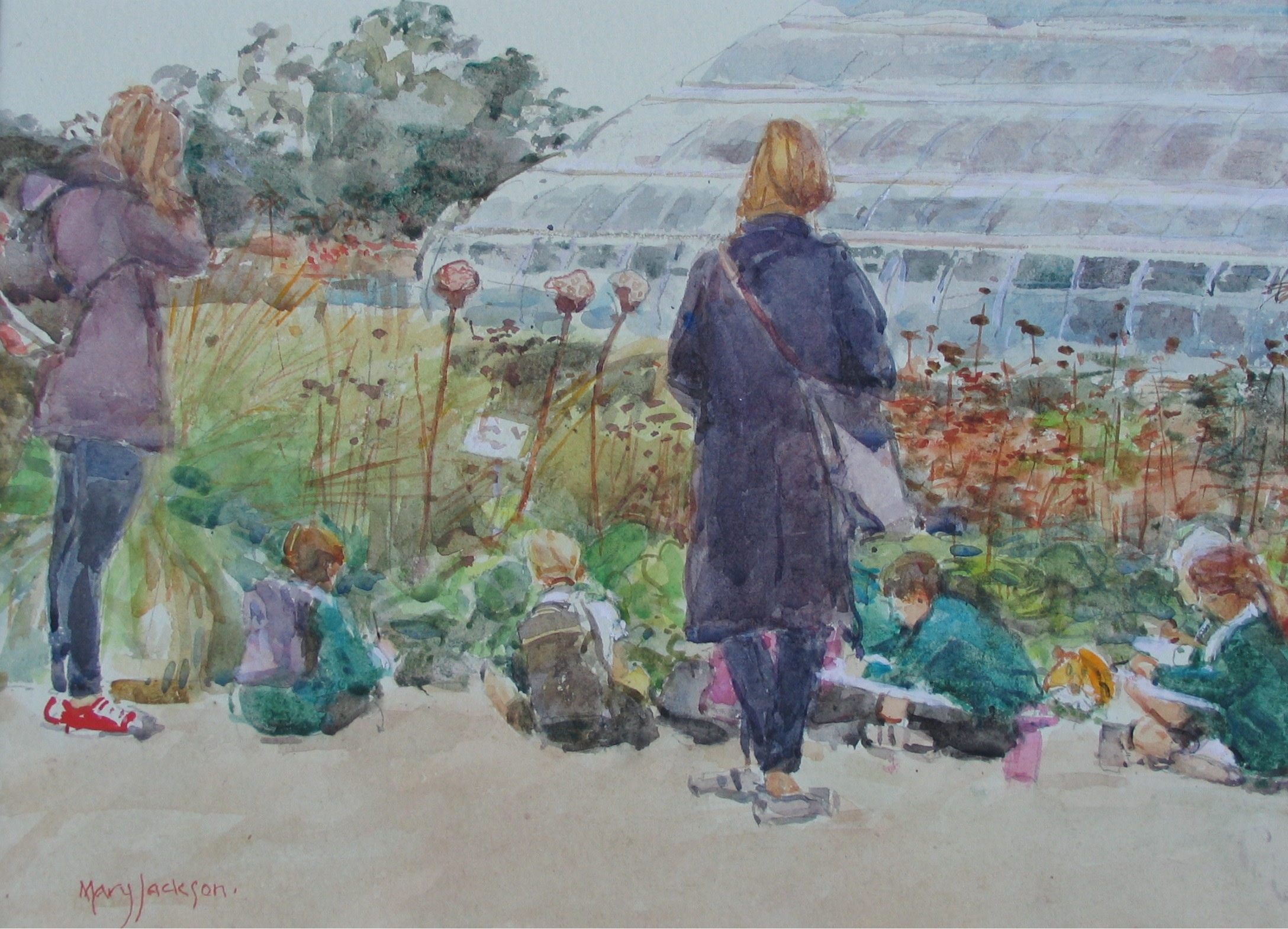 """<span class=""""link fancybox-details-link""""><a href=""""/artists/73-mary-jackson/works/9540-mary-jackson-the-school-outing-at-wisley-august-2014/"""">View Detail Page</a></span><div class=""""artist""""><span class=""""artist""""><strong>Mary Jackson</strong></span></div><div class=""""title""""><em> The School Outing at Wisley , August 2014</em></div>"""