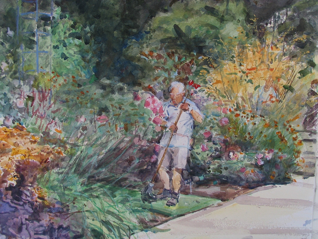 """<span class=""""link fancybox-details-link""""><a href=""""/artists/73-mary-jackson/works/9541-mary-jackson-gardening-in-august-wisley/"""">View Detail Page</a></span><div class=""""artist""""><span class=""""artist""""><strong>Mary Jackson</strong></span></div><div class=""""title""""><em>Gardening in August, Wisley</em></div><div class=""""medium"""">watercolour</div>"""