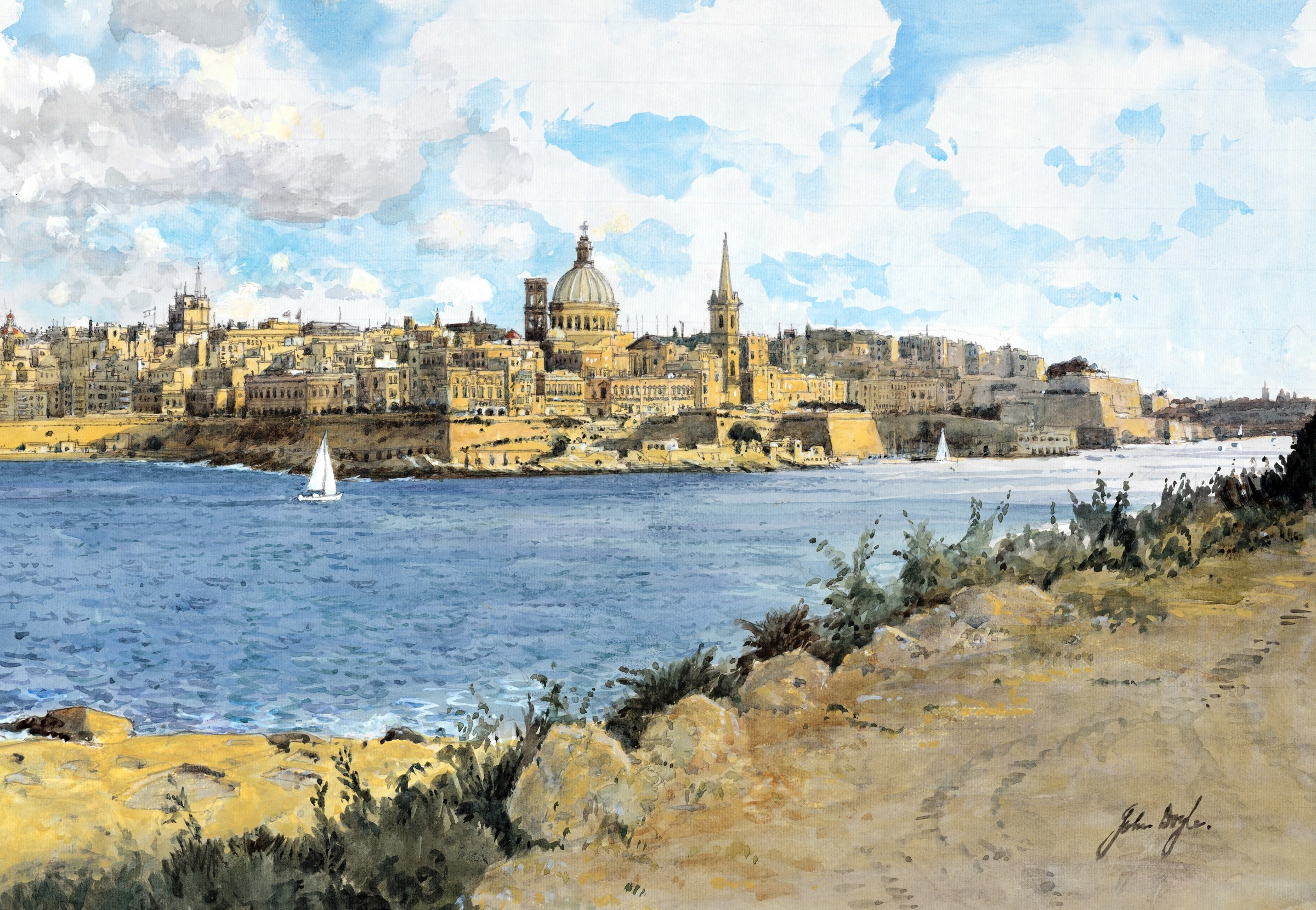 """<span class=""""link fancybox-details-link""""><a href=""""/artists/56-john-doyle/works/11519-john-doyle-valetta-from-dragut-point/"""">View Detail Page</a></span><div class=""""artist""""><span class=""""artist""""><strong>John Doyle</strong></span></div><div class=""""title""""><em>Valetta from Dragut Point</em></div><div class=""""medium"""">watercolour</div>"""