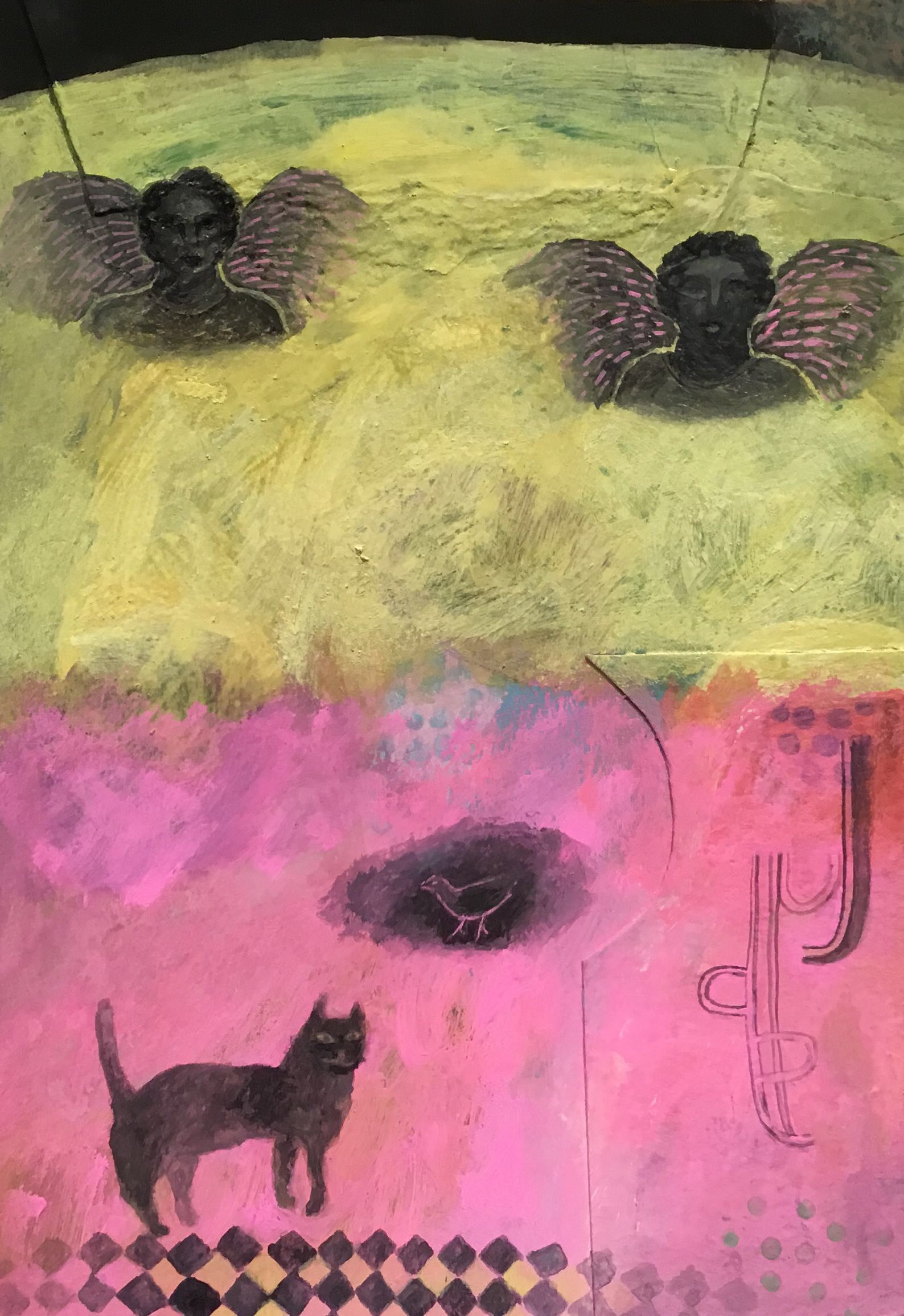 """<span class=""""link fancybox-details-link""""><a href=""""/artists/146-gertie-young/works/12333-gertie-young-cat-under-the-influence-of-angels/"""">View Detail Page</a></span><div class=""""artist""""><span class=""""artist""""><strong>Gertie Young</strong></span></div><div class=""""title""""><em>Cat under the Influence of Angels</em></div><div class=""""medium"""">acrylic & collage</div><div class=""""dimensions"""">Frame: 36 x 28 cm<br /> Artwork: 26 x 18 cm</div><div class=""""price"""">£250.00</div>"""