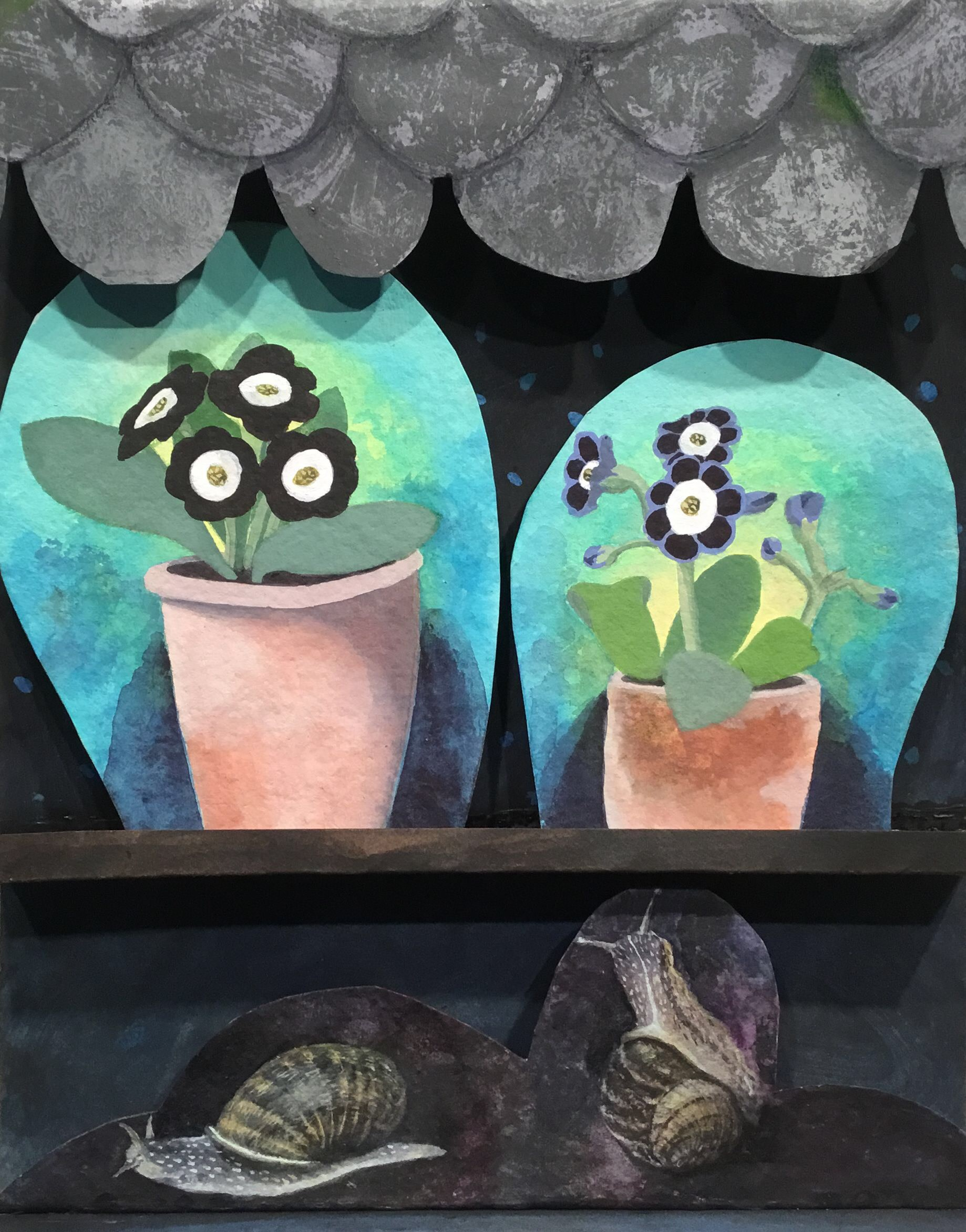 """<span class=""""link fancybox-details-link""""><a href=""""/artists/146-gertie-young/works/12336-gertie-young-snails-with-auriculas/"""">View Detail Page</a></span><div class=""""artist""""><span class=""""artist""""><strong>Gertie Young</strong></span></div><div class=""""title""""><em>Snails with Auriculas</em></div><div class=""""medium"""">acrylic, card assemblage in acrylic box<br /> </div><div class=""""dimensions"""">Frame: 32 x 26 cm<br /> Artwork: 32 x 26 cm<br /> </div><div class=""""price"""">£350.00</div>"""