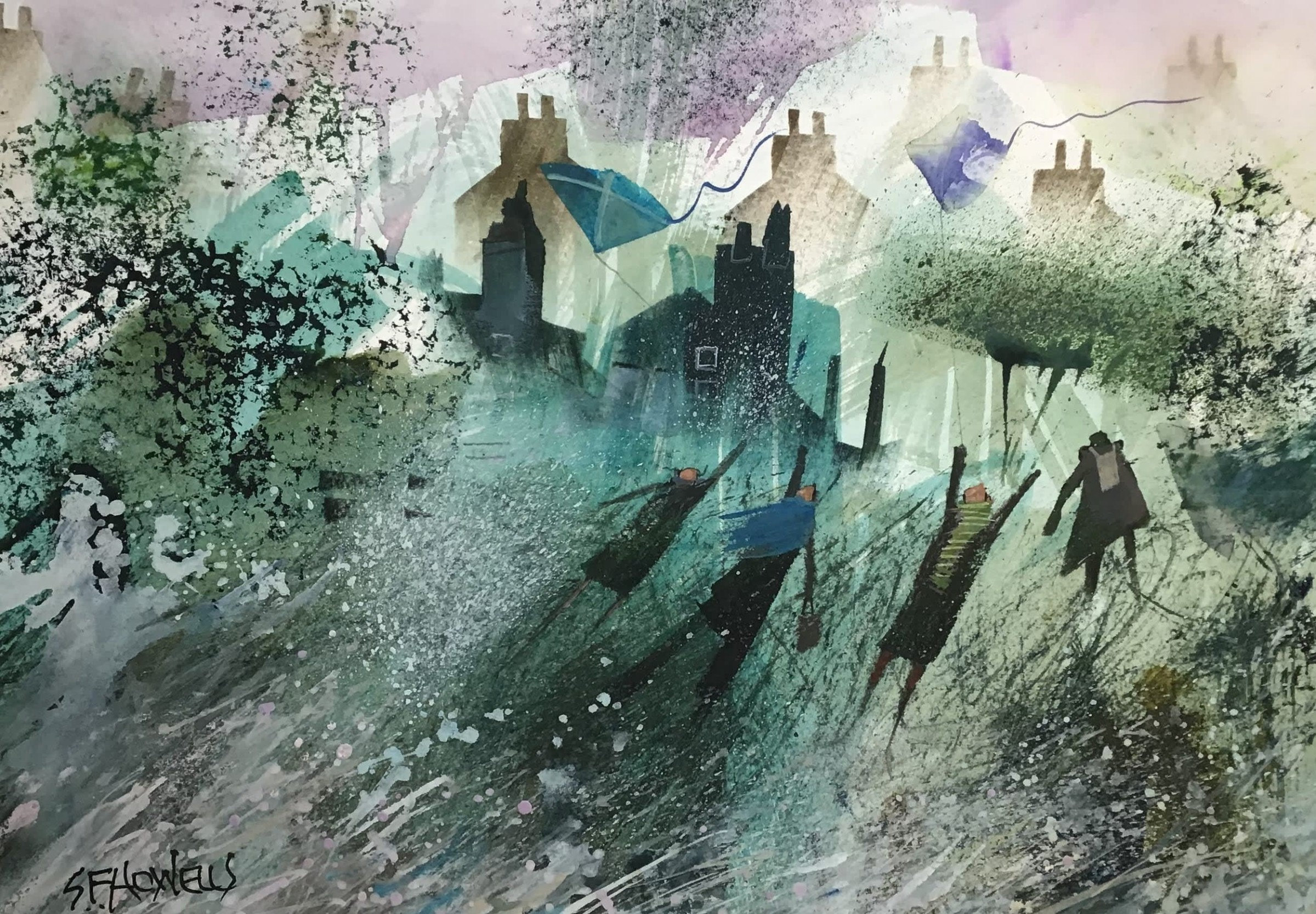 """<span class=""""link fancybox-details-link""""><a href=""""/artists/136-sue-howells/works/12068-sue-howells-they-re-flying-their-kites/"""">View Detail Page</a></span><div class=""""artist""""><span class=""""artist""""><strong>Sue Howells</strong></span></div><div class=""""title""""><em>They're Flying Their Kites</em></div><div class=""""medium"""">watercolour</div><div class=""""dimensions"""">Frame: 50 x 60 cm<br /> Artwork: 26 x 35 cm</div><div class=""""price"""">£400.00</div>"""