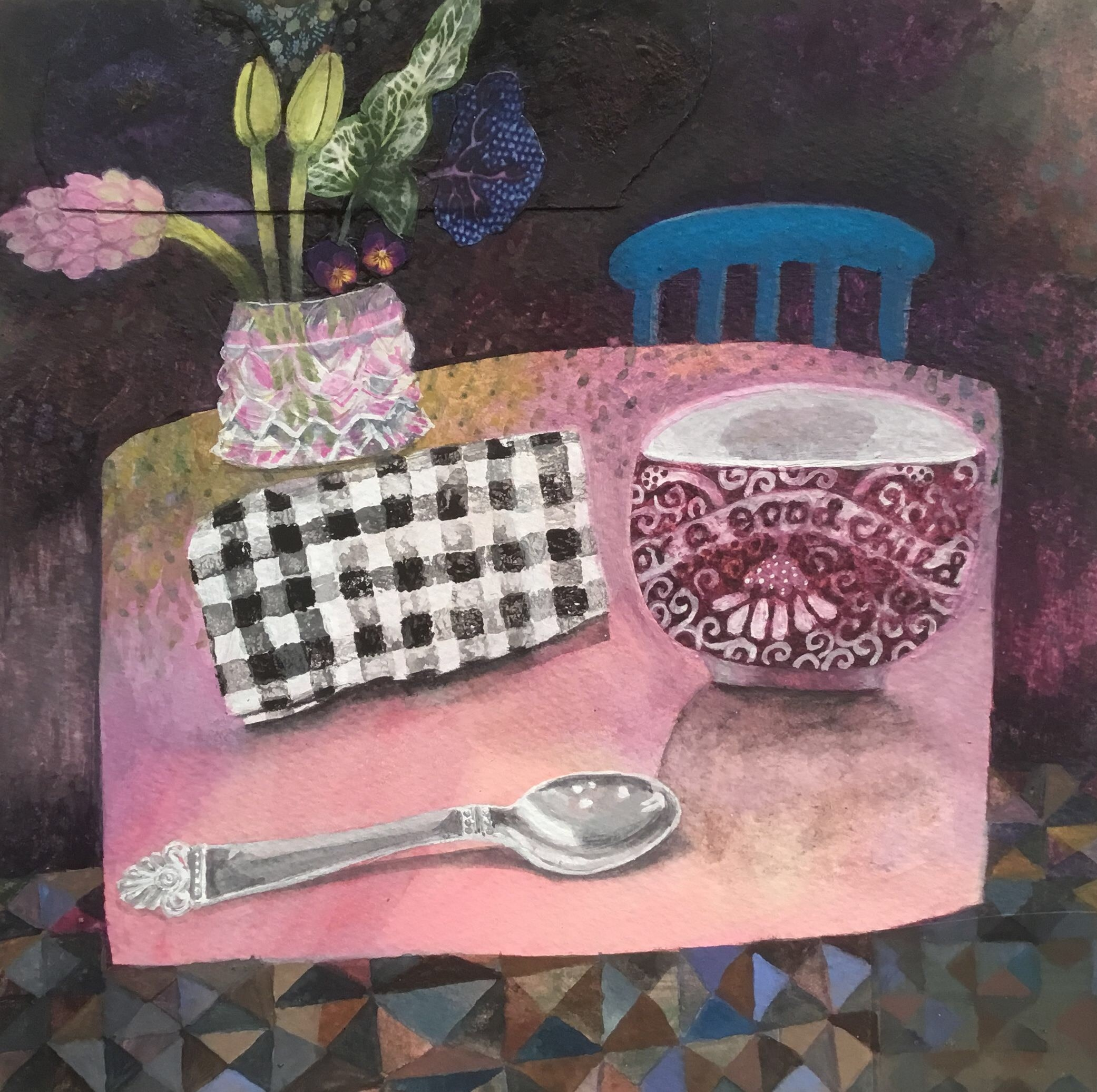 """<span class=""""link fancybox-details-link""""><a href=""""/artists/146-gertie-young/works/11673-gertie-young-for-a-good-child/"""">View Detail Page</a></span><div class=""""artist""""><span class=""""artist""""><strong>Gertie Young</strong></span></div><div class=""""title""""><em>For a Good Child</em></div><div class=""""medium"""">watercolour, gouache & collage</div><div class=""""dimensions"""">Artwork: 23 x 23 cm<br /> Frame: 34 x 34 cm<br /> <br /> <br /> </div><div class=""""price"""">£360.00</div>"""