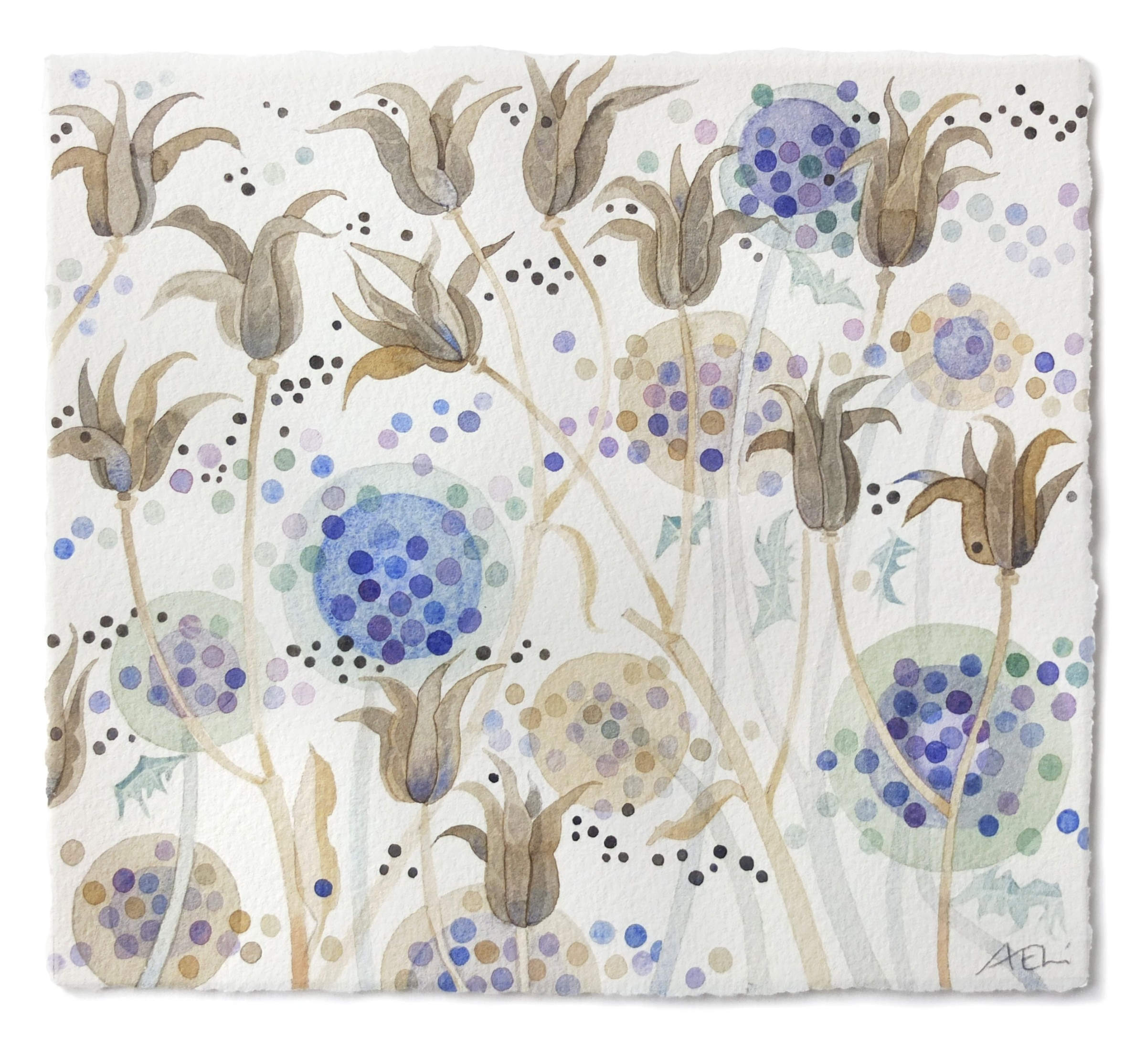 """<span class=""""link fancybox-details-link""""><a href=""""/artists/129-angie-lewin/works/12086-angie-lewin-echinops-and-aquilegia/"""">View Detail Page</a></span><div class=""""artist""""><span class=""""artist""""><strong>Angie Lewin</strong></span></div><div class=""""title""""><em>Echinops and Aquilegia</em></div><div class=""""medium"""">watercolour</div><div class=""""dimensions"""">Frame: 35.5 x 36 cm<br /> Artwork: 17.5 x 19 cm</div><div class=""""price"""">£485.00</div>"""