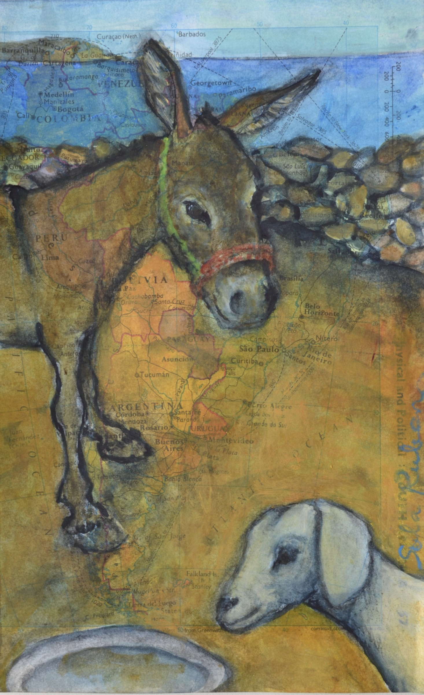 """<span class=""""link fancybox-details-link""""><a href=""""/artists/212-sula-rubens/works/12310-sula-rubens-donkey-with-a-young-goat/"""">View Detail Page</a></span><div class=""""artist""""><span class=""""artist""""><strong>Sula Rubens</strong></span></div><div class=""""title""""><em>Donkey with a Young Goat</em></div><div class=""""medium"""">watercolour on paper (map)</div><div class=""""dimensions"""">Frame: 37 x 29 cm<br /> Artwork: 19 x 11.7 cm</div><div class=""""price"""">£295.00</div>"""