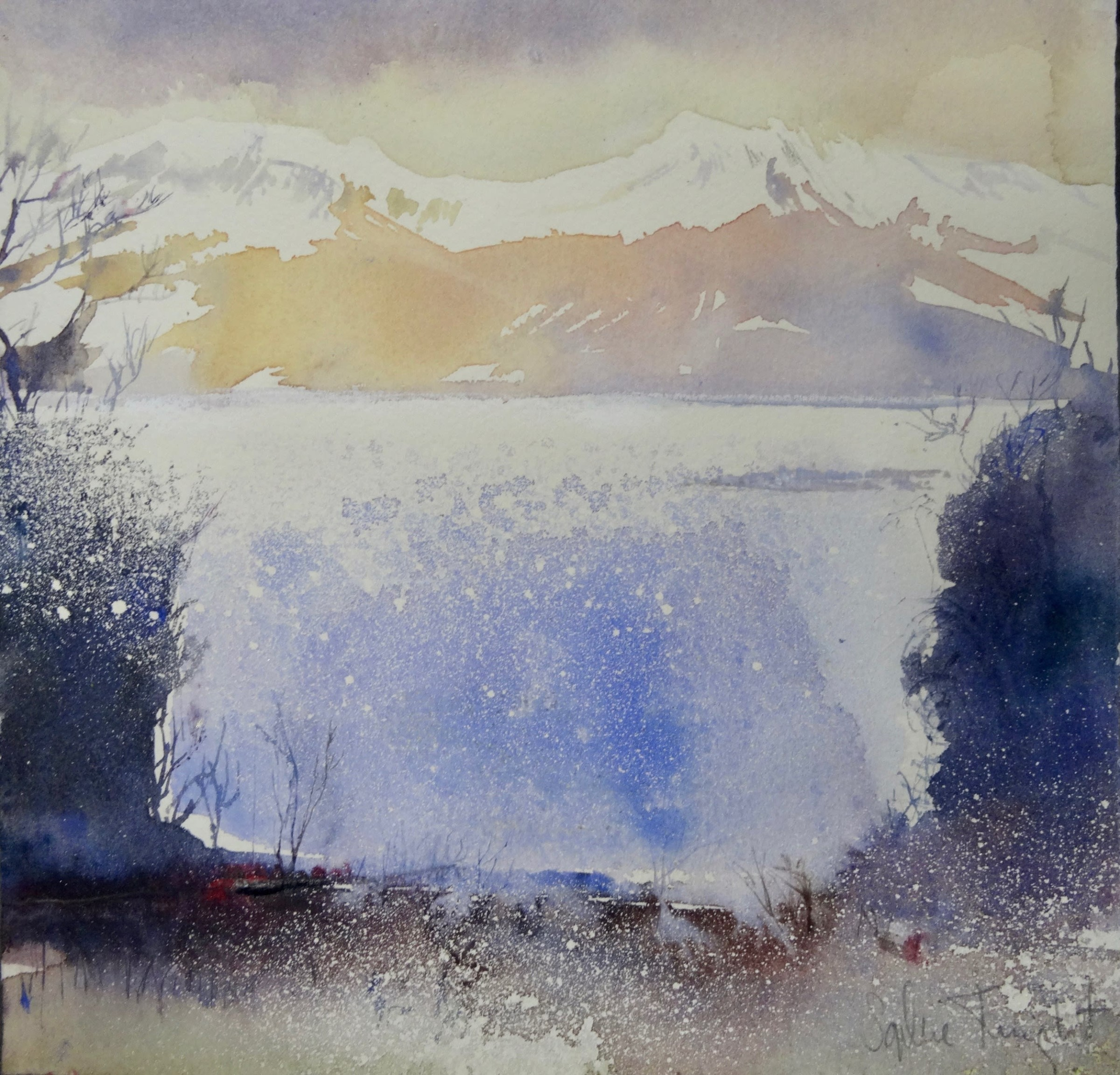 """<span class=""""link fancybox-details-link""""><a href=""""/artists/77-sophie-knight/works/12757-sophie-knight-sunlight-on-snow-capped-mountains-and-loch-isle/"""">View Detail Page</a></span><div class=""""artist""""><span class=""""artist""""><strong>Sophie Knight</strong></span></div><div class=""""title""""><em>Sunlight on Snow Capped Mountains and Loch, Isle of Skye</em></div><div class=""""medium"""">watercolour</div><div class=""""dimensions"""">Frame: 28 x 26cm<br /> Artwork: 21 x 18cm</div><div class=""""price"""">£420.00</div>"""