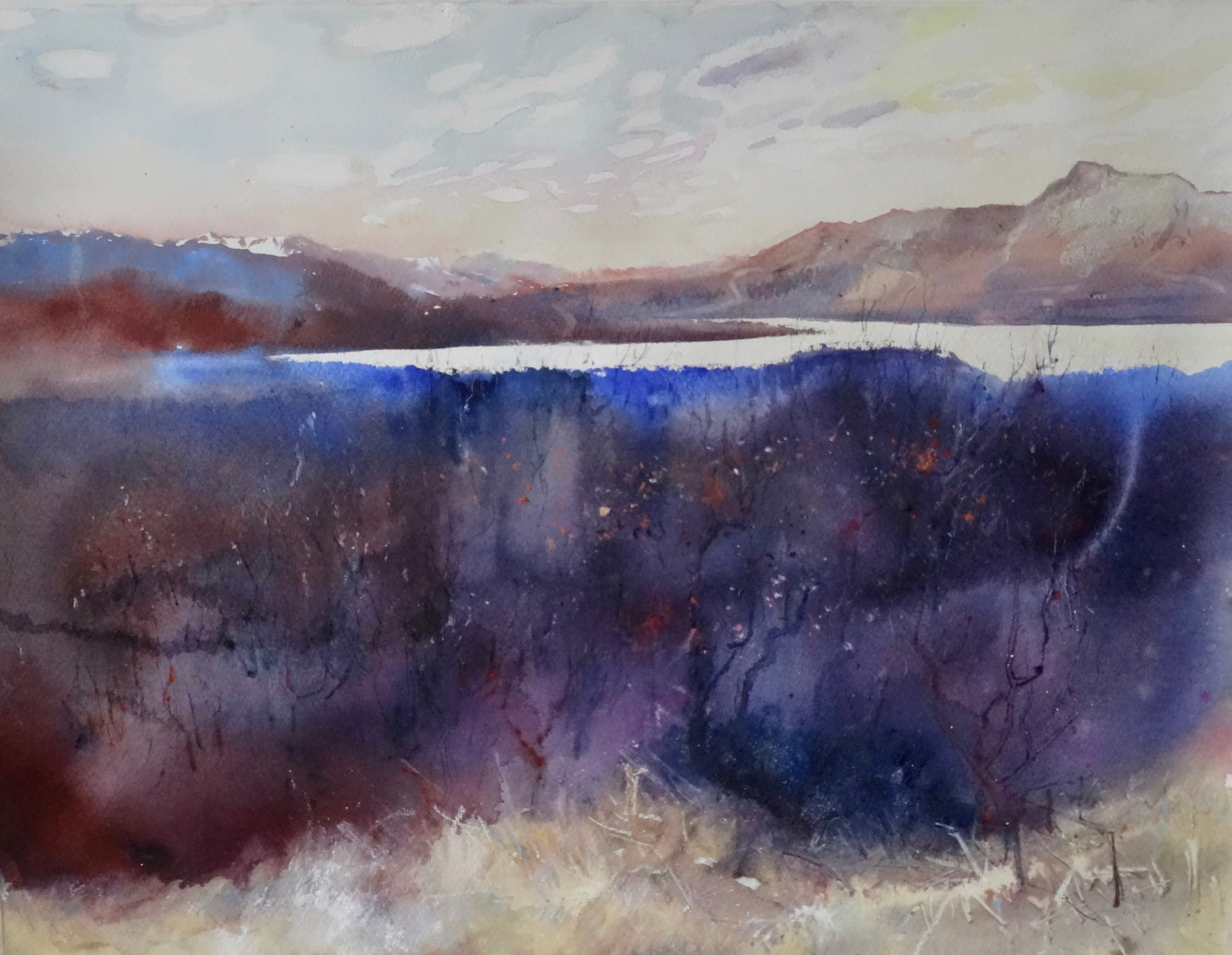 """<span class=""""link fancybox-details-link""""><a href=""""/artists/77-sophie-knight/works/12756-sophie-knight-sunlight-on-the-loch-isle-of-skye/"""">View Detail Page</a></span><div class=""""artist""""><span class=""""artist""""><strong>Sophie Knight</strong></span></div><div class=""""title""""><em>Sunlight on the Loch, Isle of Skye</em></div><div class=""""medium"""">mixed media in paper</div><div class=""""dimensions"""">Frame: 88 x 66cm<br /> Artwork: 76 x 56cm</div><div class=""""price"""">£1,500.00</div>"""