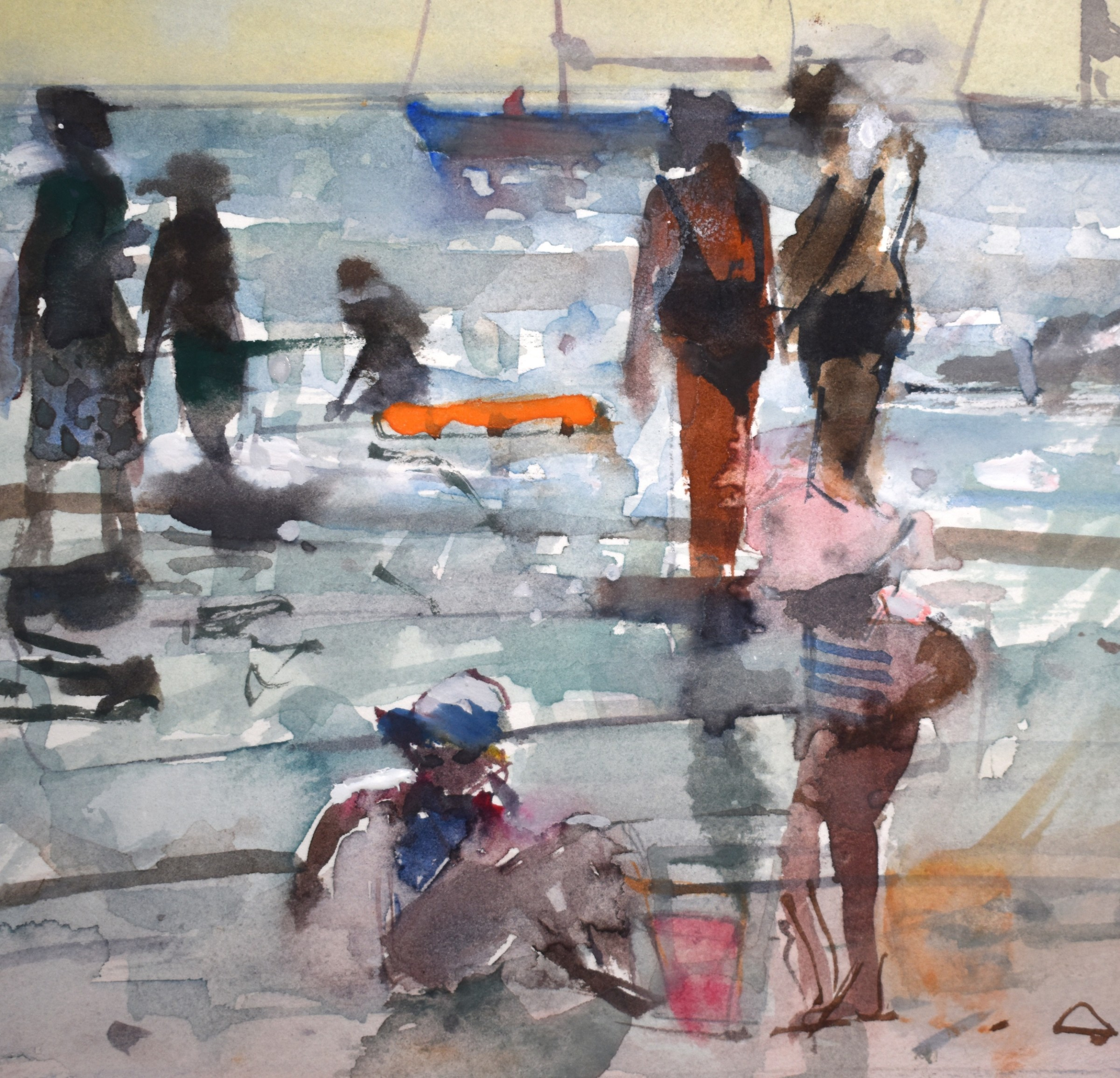 """<span class=""""link fancybox-details-link""""><a href=""""/artists/92-richard-pikesley/works/12285-richard-pikesley-bathers-and-boats-lyme-regis/"""">View Detail Page</a></span><div class=""""artist""""><span class=""""artist""""><strong>Richard Pikesley</strong></span></div><div class=""""title""""><em>Bathers and Boats, Lyme Regis</em></div><div class=""""medium"""">watercolour</div><div class=""""dimensions"""">Frame: 27.5 x 27.5 cm<br /> Artwork: 13 x 13 cm</div><div class=""""price"""">£430.00</div>"""