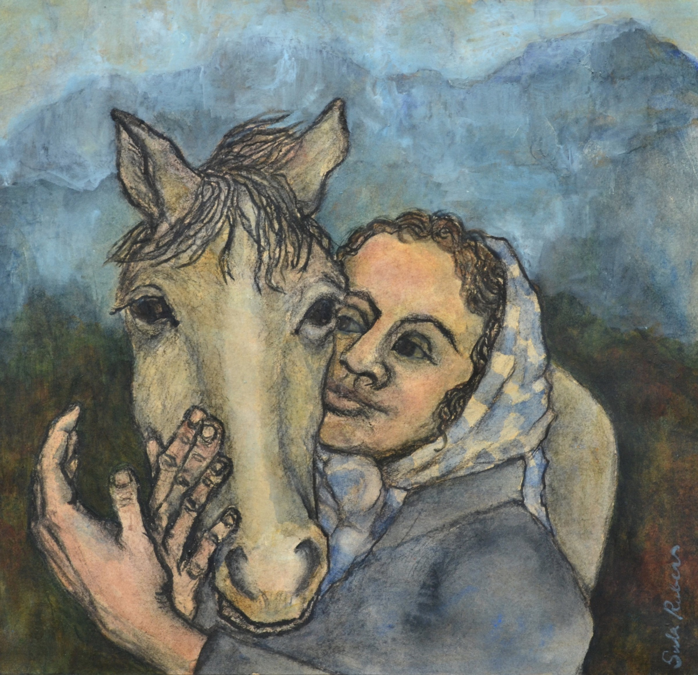 """<span class=""""link fancybox-details-link""""><a href=""""/artists/212-sula-rubens/works/12175-sula-rubens-mountain-girl-with-horse/"""">View Detail Page</a></span><div class=""""artist""""><span class=""""artist""""><strong>Sula Rubens</strong></span></div><div class=""""title""""><em>Mountain Girl with Horse</em></div><div class=""""medium"""">ink, watercolour & acrylic</div><div class=""""dimensions"""">Frame: 60 x 60 cm<br /> Artwork: 36.5 x 37 cm</div><div class=""""price"""">£950.00</div>"""