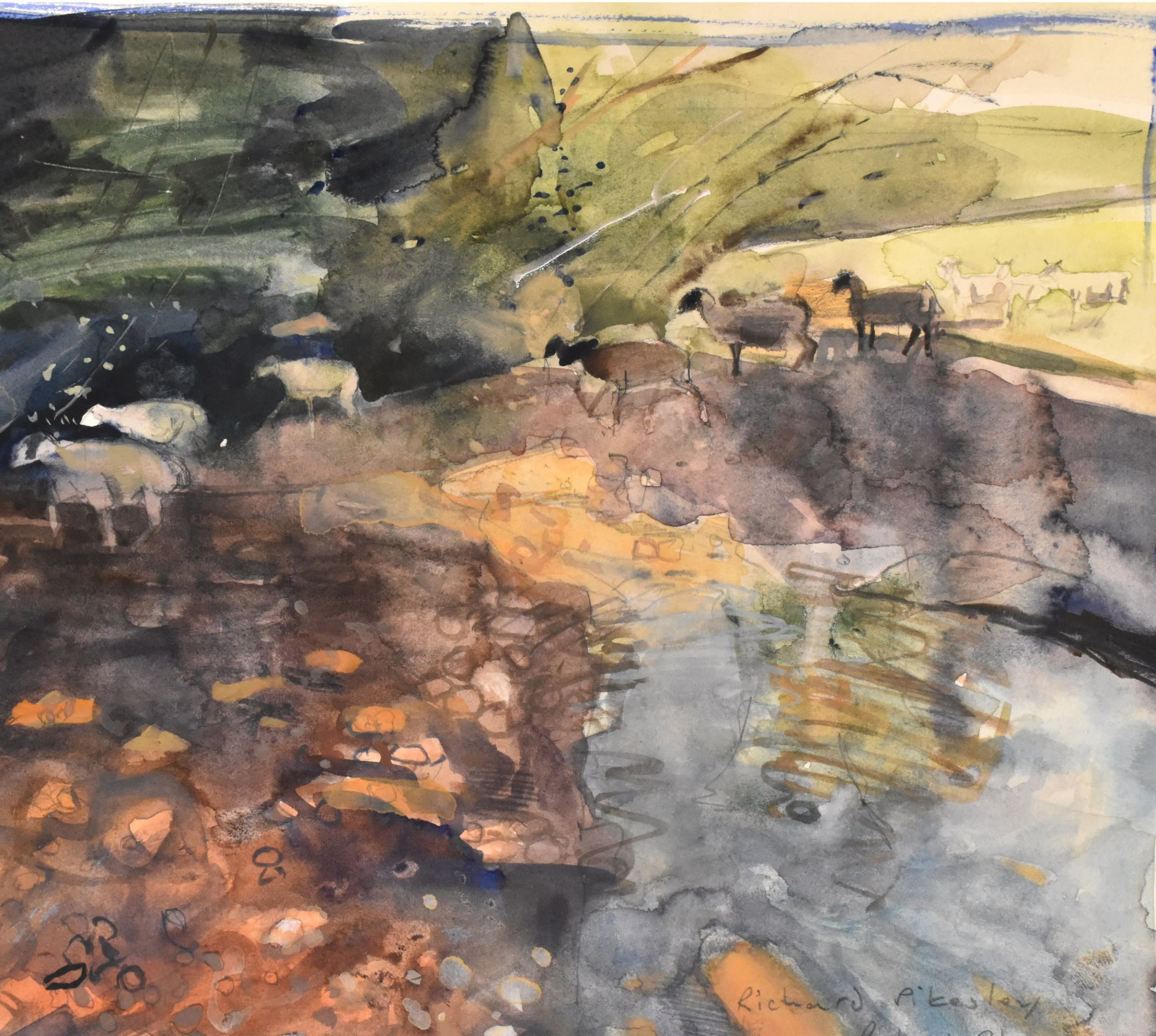 """<span class=""""link fancybox-details-link""""><a href=""""/artists/92-richard-pikesley/works/12133-richard-pikesley-sheep-in-the-stream-axe-valley/"""">View Detail Page</a></span><div class=""""artist""""><span class=""""artist""""><strong>Richard Pikesley</strong></span></div><div class=""""title""""><em>Sheep in the stream, Axe Valley</em></div><div class=""""medium"""">watercolour</div><div class=""""dimensions"""">Frame: 40 x 40 cm<br /> Artwork: 20 x 22 cm</div><div class=""""price"""">£600.00</div>"""