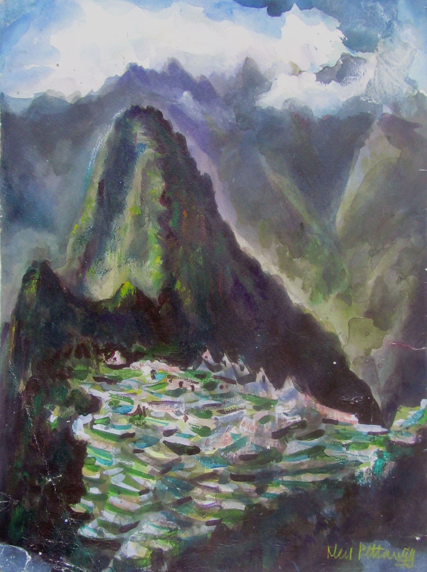 """<span class=""""link fancybox-details-link""""><a href=""""/artists/94-neil-pittaway/works/12452-neil-pittaway-magical-machu-picchu-city-in-the-clouds/"""">View Detail Page</a></span><div class=""""artist""""><span class=""""artist""""><strong>Neil Pittaway</strong></span></div><div class=""""title""""><em>Magical Machu Picchu, City in the Clouds</em></div><div class=""""medium"""">watercolour</div><div class=""""dimensions"""">Frame: 54 x 45 cm<br /> Artwork: 40 x 30 cm</div><div class=""""price"""">£450.00</div>"""