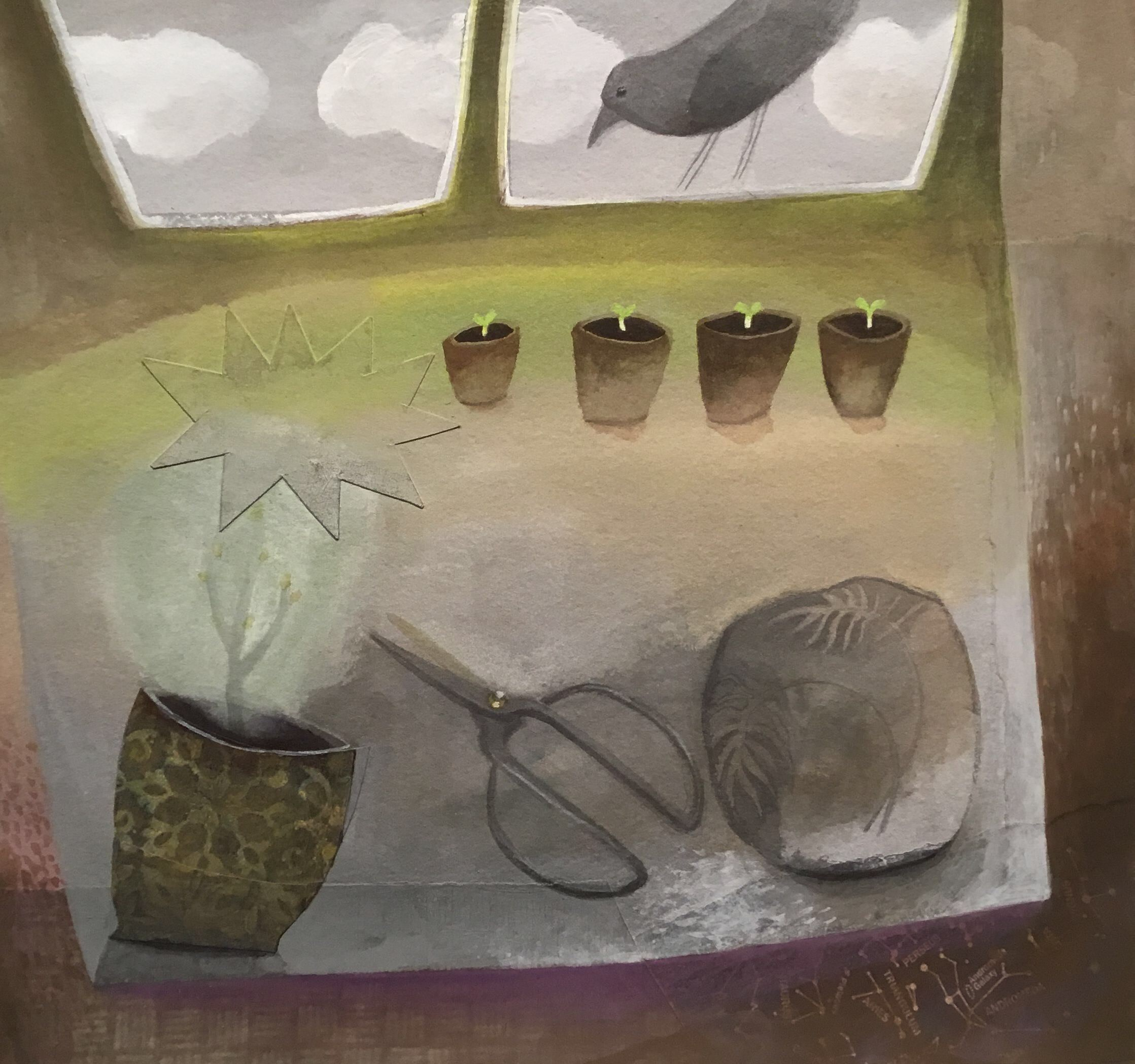 """<span class=""""link fancybox-details-link""""><a href=""""/artists/146-gertie-young/works/12699-gertie-young-crow-checks-on-the-seedlings/"""">View Detail Page</a></span><div class=""""artist""""><span class=""""artist""""><strong>Gertie Young</strong></span></div><div class=""""title""""><em>Crow Checks on the Seedlings</em></div><div class=""""medium"""">watercolour & gouache on card</div><div class=""""dimensions"""">Artwork: 30 x 29cm</div><div class=""""price"""">£290.00</div>"""