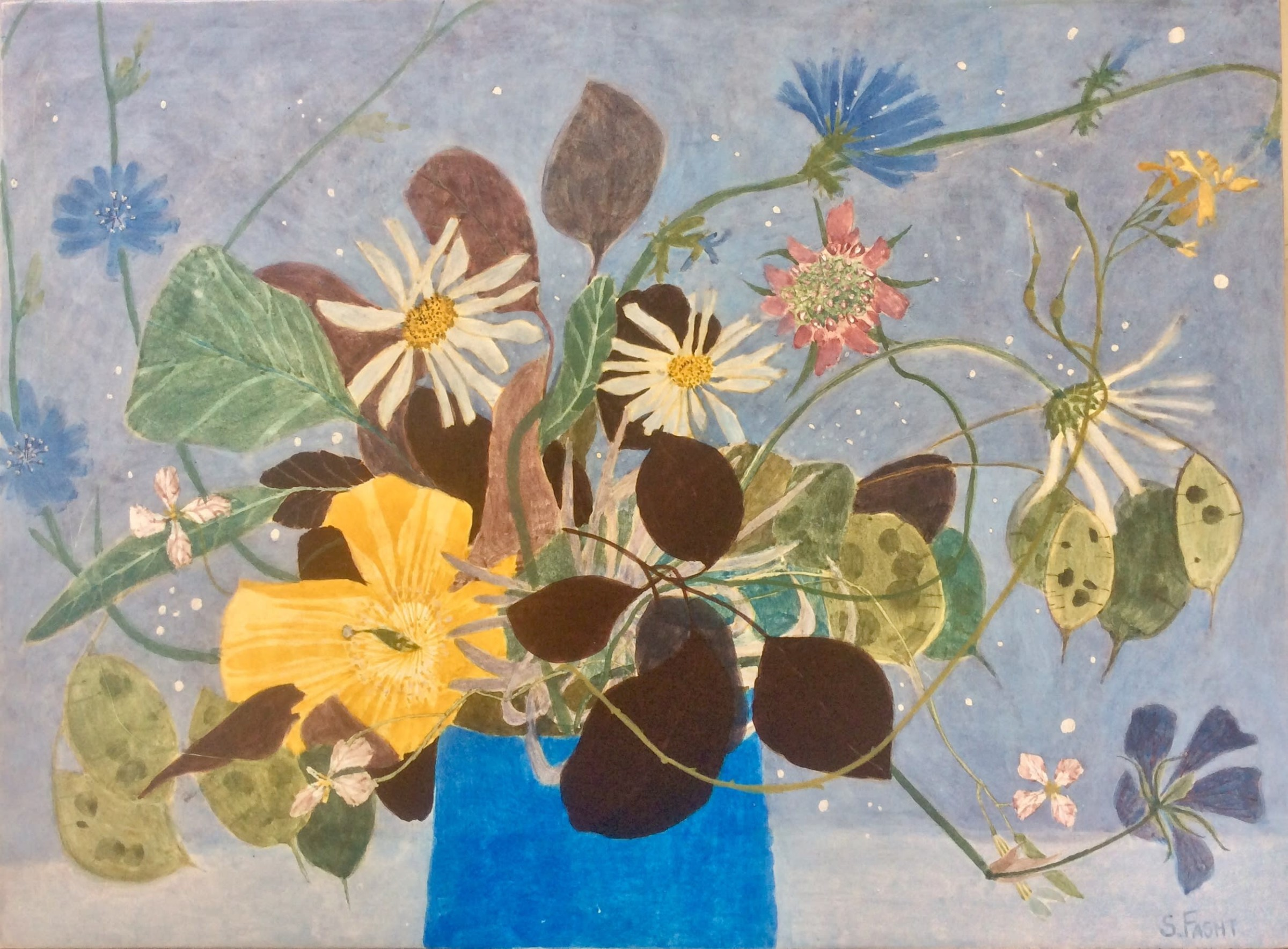 """<span class=""""link fancybox-details-link""""><a href=""""/artists/168-suzy-fasht/works/12368-suzy-fasht-summer-flowers-with-chicory/"""">View Detail Page</a></span><div class=""""artist""""><span class=""""artist""""><strong>Suzy Fasht</strong></span></div><div class=""""title""""><em>Summer Flowers with Chicory</em></div><div class=""""medium"""">egg tempera on panel</div><div class=""""dimensions"""">Frame: 43 x 53 cm<br /> </div><div class=""""price"""">£850.00</div>"""