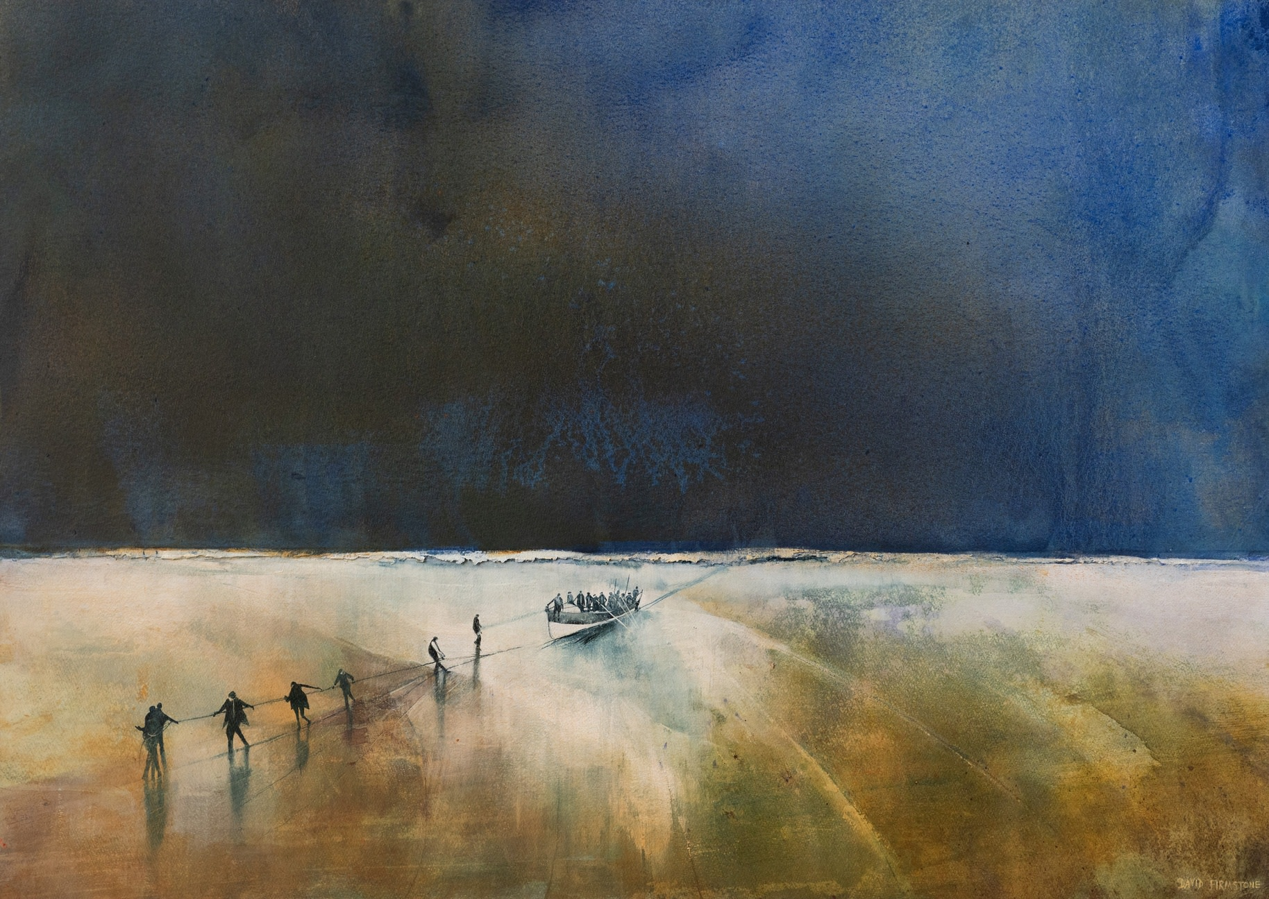 """<span class=""""link fancybox-details-link""""><a href=""""/artists/60-david-firmstone-mbe/works/11716-david-firmstone-mbe-pulling-in-the-gem-isle-of-wight/"""">View Detail Page</a></span><div class=""""artist""""><span class=""""artist""""><strong>David Firmstone MBE</strong></span></div><div class=""""title""""><em>Pulling in the Gem, Isle of Wight</em></div><div class=""""medium"""">watercolour on gesso</div><div class=""""dimensions"""">Frame: 100 x 130 cm<br /> </div><div class=""""price"""">£6,000.00</div>"""