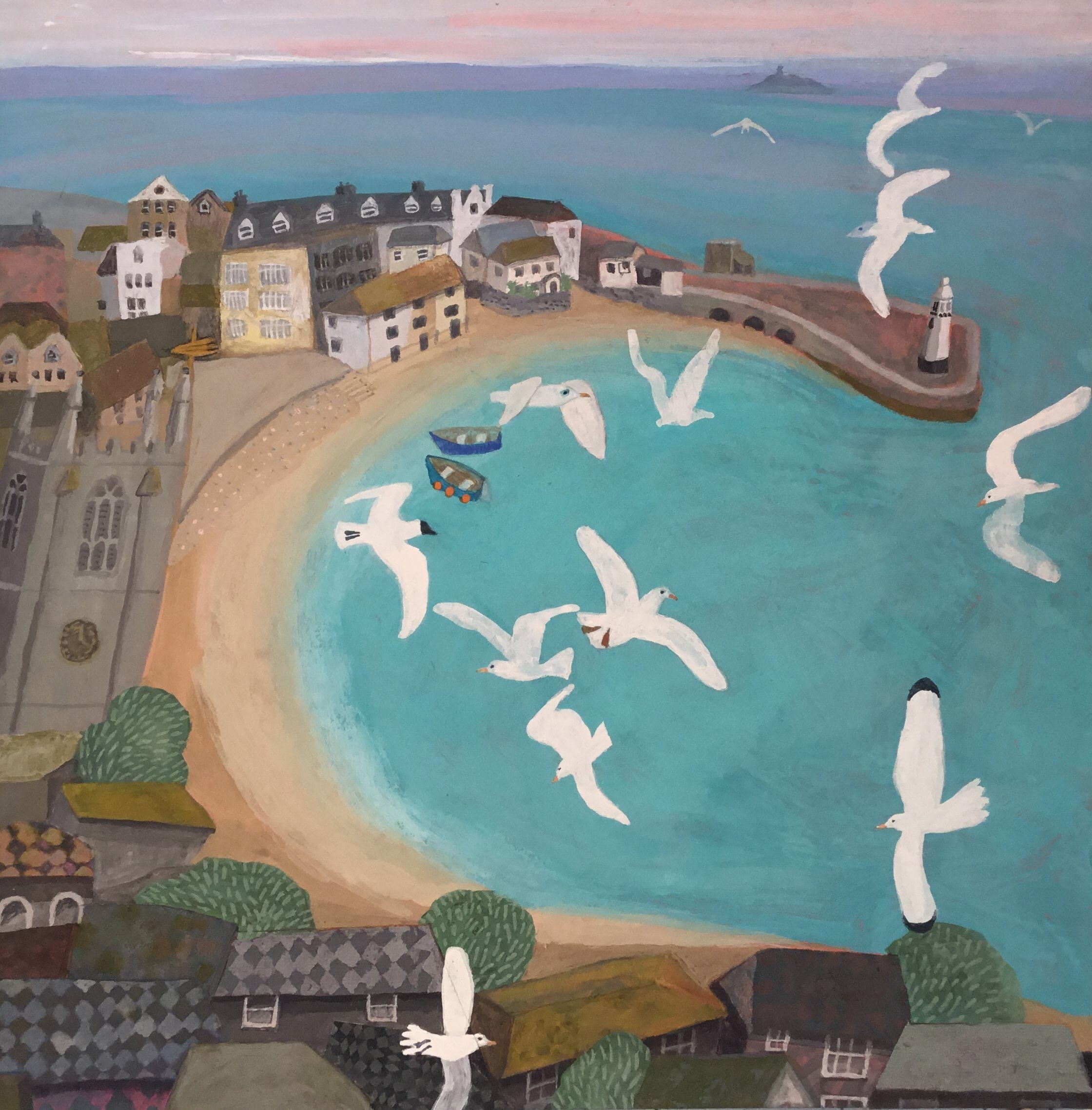 """<span class=""""link fancybox-details-link""""><a href=""""/artists/146-gertie-young/works/11672-gertie-young-morning-in-st-ives/"""">View Detail Page</a></span><div class=""""artist""""><span class=""""artist""""><strong>Gertie Young</strong></span></div><div class=""""title""""><em>Morning in St Ives</em></div><div class=""""medium"""">watercolour, gouache & collage</div><div class=""""dimensions"""">Artwork: 30 x 30 cm<br /> Frame: 42 x 42 cm<br /> <br /> </div><div class=""""price"""">£380.00</div>"""