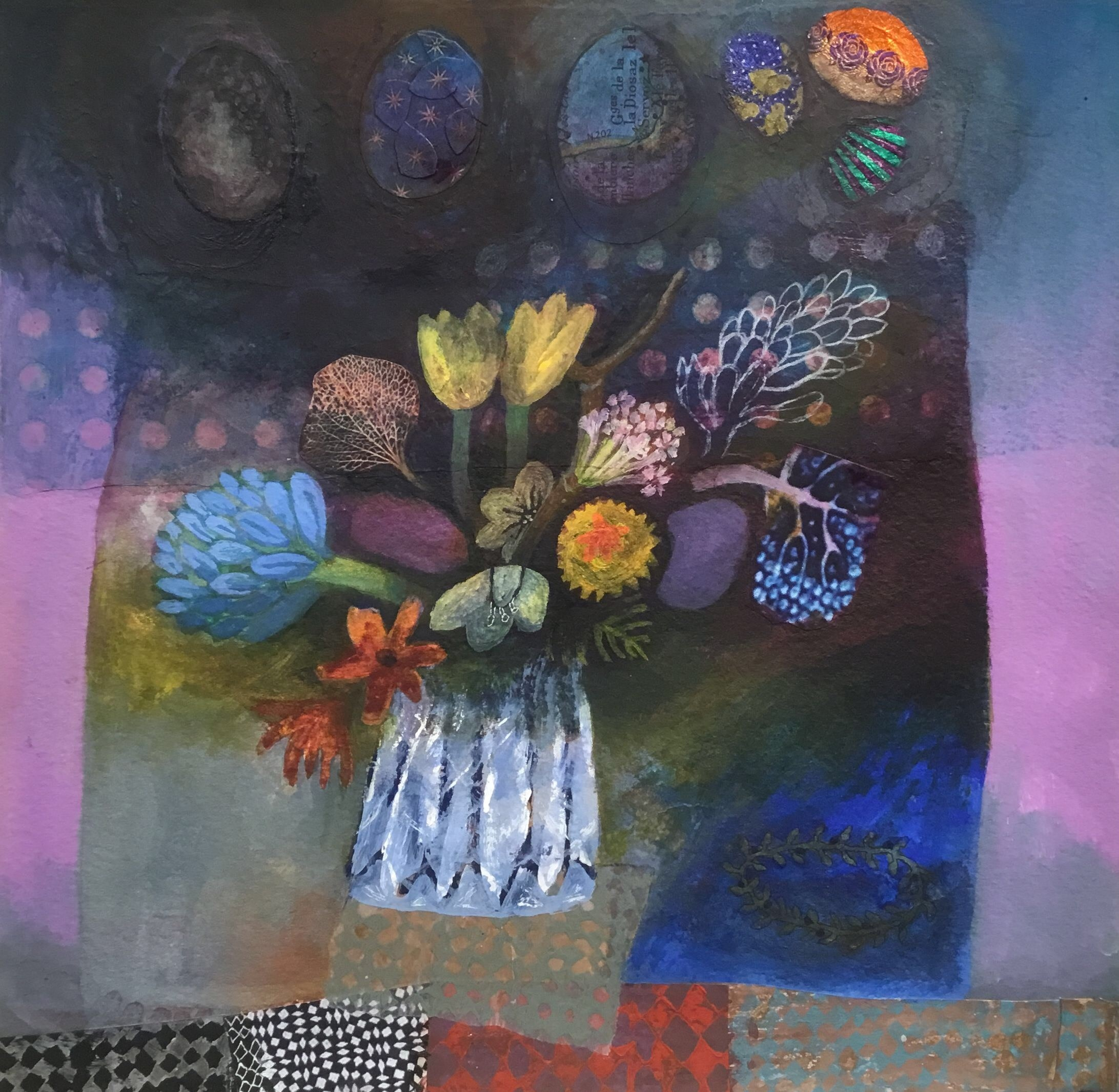 """<span class=""""link fancybox-details-link""""><a href=""""/artists/146-gertie-young/works/11274-gertie-young-spring-flowers-with-easter-eggs/"""">View Detail Page</a></span><div class=""""artist""""><span class=""""artist""""><strong>Gertie Young</strong></span></div><div class=""""title""""><em>Spring Flowers with Easter Eggs</em></div><div class=""""medium"""">watercolour, gouache & collage</div><div class=""""dimensions"""">40x40cm</div><div class=""""price"""">£360.00</div>"""