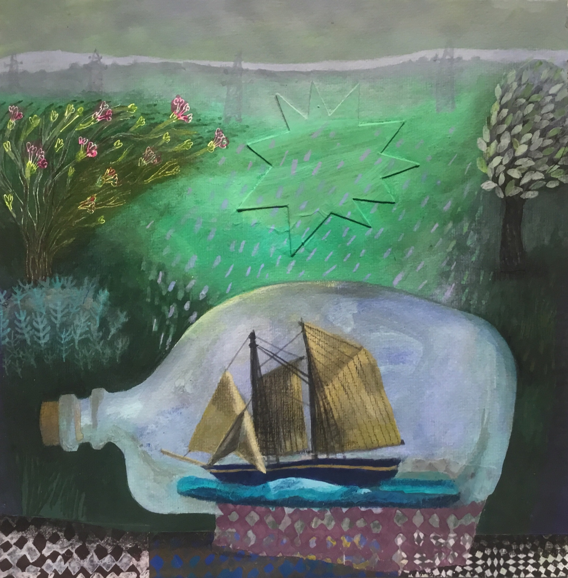 """<span class=""""link fancybox-details-link""""><a href=""""/artists/146-gertie-young/works/11874-gertie-young-voyage-to-the-surrey-hills/"""">View Detail Page</a></span><div class=""""artist""""><span class=""""artist""""><strong>Gertie Young</strong></span></div><div class=""""title""""><em>Voyage to the Surrey Hills</em></div><div class=""""medium"""">watercolour & gouache collage</div><div class=""""dimensions"""">Frame: 31 x 31 cm<br /> Artwork: 20 x 20 cm<br /> </div><div class=""""price"""">£320.00</div>"""