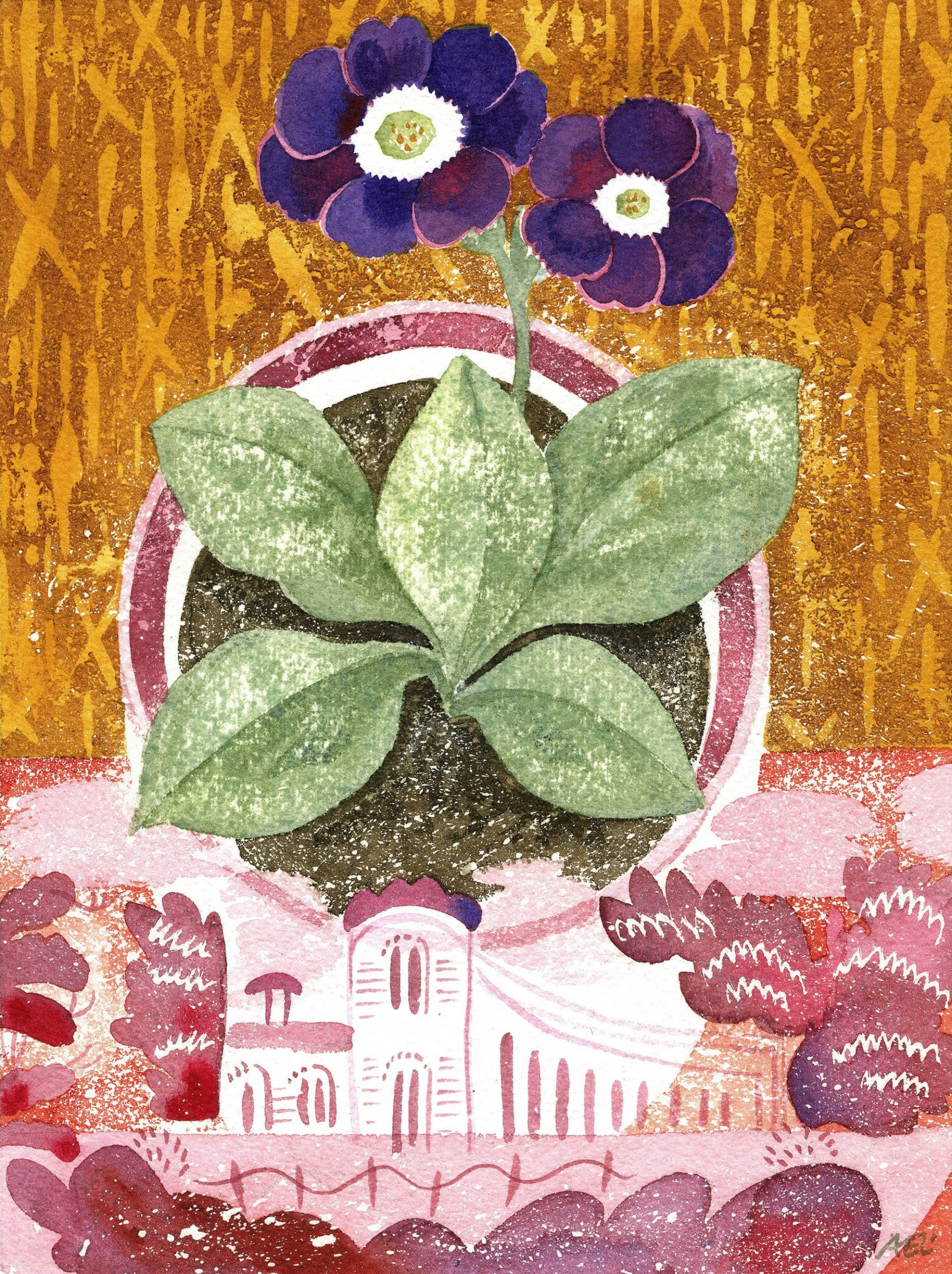"""<span class=""""link fancybox-details-link""""><a href=""""/artists/129-angie-lewin/works/12762-angie-lewin-auricula-faliraki-and-lustreware-landscape/"""">View Detail Page</a></span><div class=""""artist""""><span class=""""artist""""><strong>Angie Lewin</strong></span></div><div class=""""title""""><em>Auricula 'Faliraki' and Lustreware Landscape</em></div><div class=""""medium"""">watercolour</div><div class=""""dimensions"""">Frame: 37 x 31cm<br /> Artwork: 20 x 15cm</div><div class=""""price"""">£620.00</div>"""