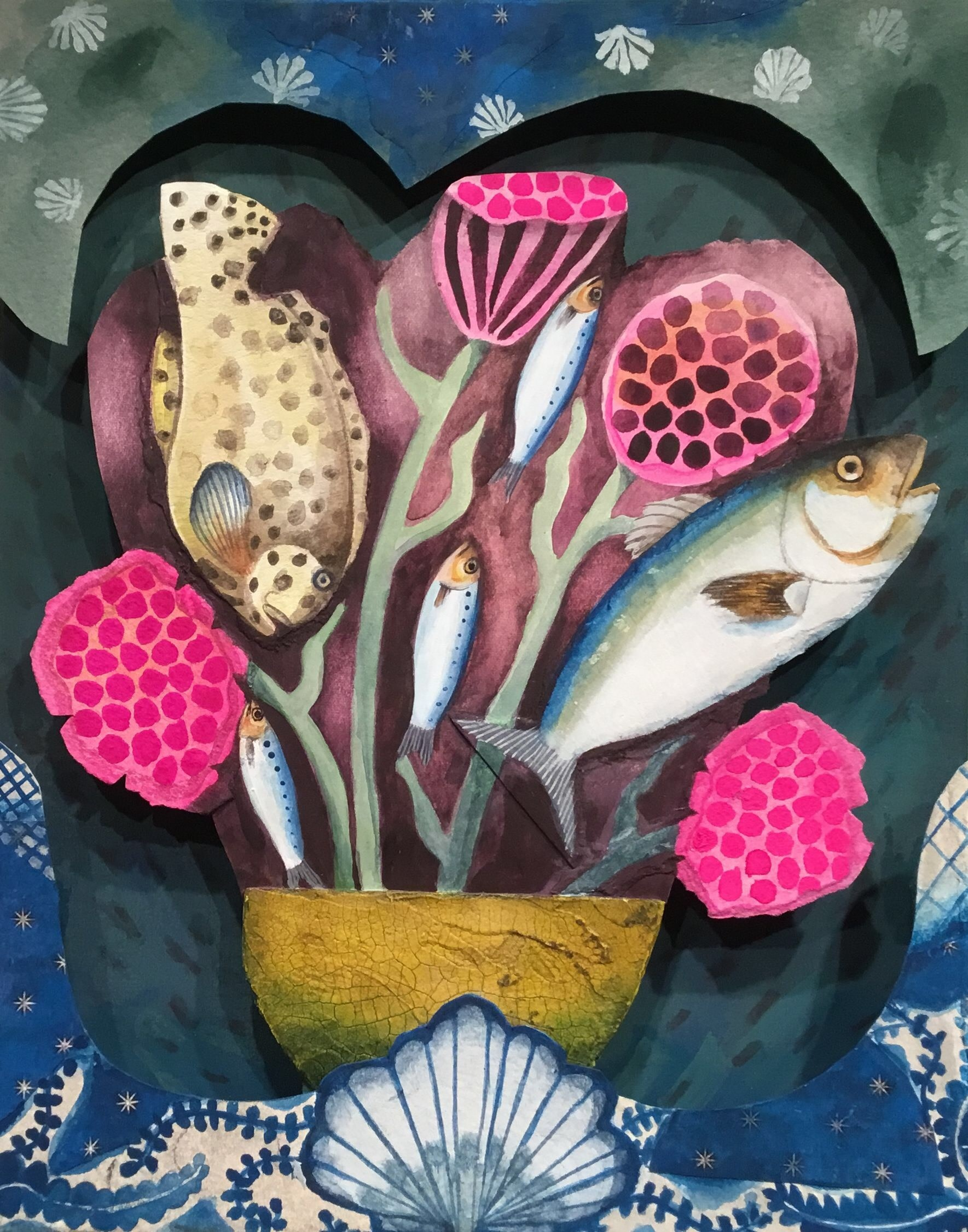 """<span class=""""link fancybox-details-link""""><a href=""""/artists/146-gertie-young/works/10980-gertie-young-bouquet-of-fish/"""">View Detail Page</a></span><div class=""""artist""""><span class=""""artist""""><strong>Gertie Young</strong></span></div><div class=""""title""""><em>Bouquet of Fish</em></div><div class=""""medium"""">watercolour and gouache collage</div><div class=""""dimensions"""">32x26x6cm</div><div class=""""price"""">£450.00</div>"""