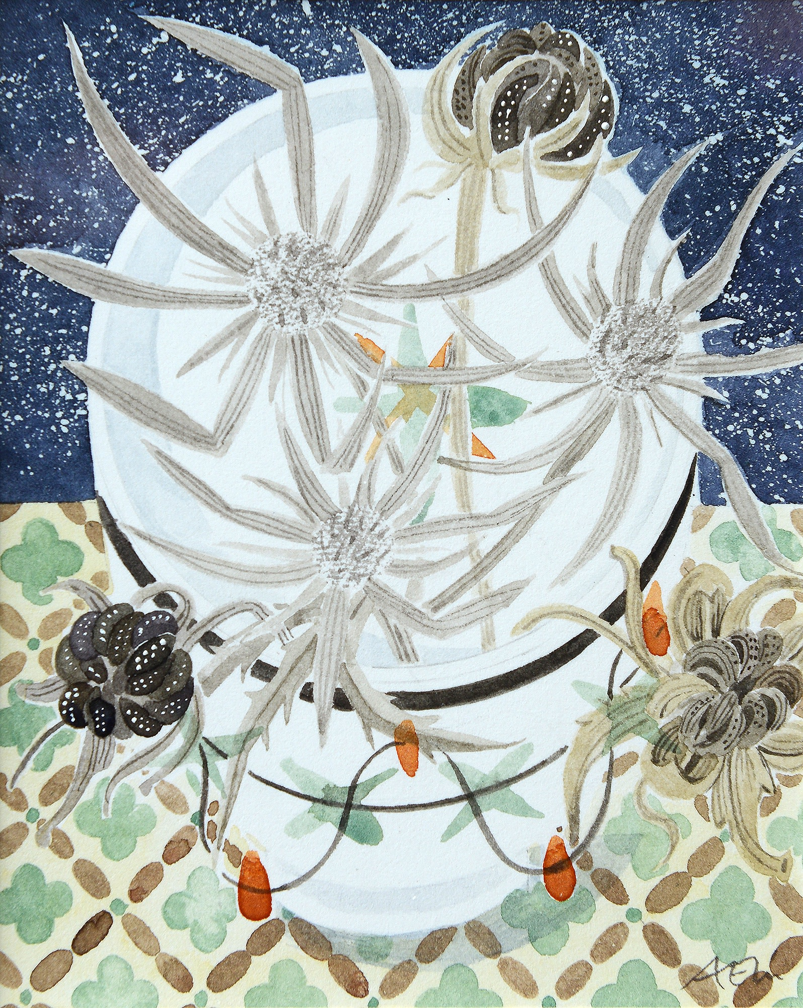 """<span class=""""link fancybox-details-link""""><a href=""""/artists/129-angie-lewin/works/12249-angie-lewin-teabowl-with-garden-seedheads/"""">View Detail Page</a></span><div class=""""artist""""><span class=""""artist""""><strong>Angie Lewin</strong></span></div><div class=""""title""""><em>Teabowl with Garden Seedheads</em></div><div class=""""medium"""">watercolour</div><div class=""""dimensions"""">Frame: 29 x 26 cm<br /> Artwork: 12 x 9.5 cm</div><div class=""""price"""">£345.00</div>"""